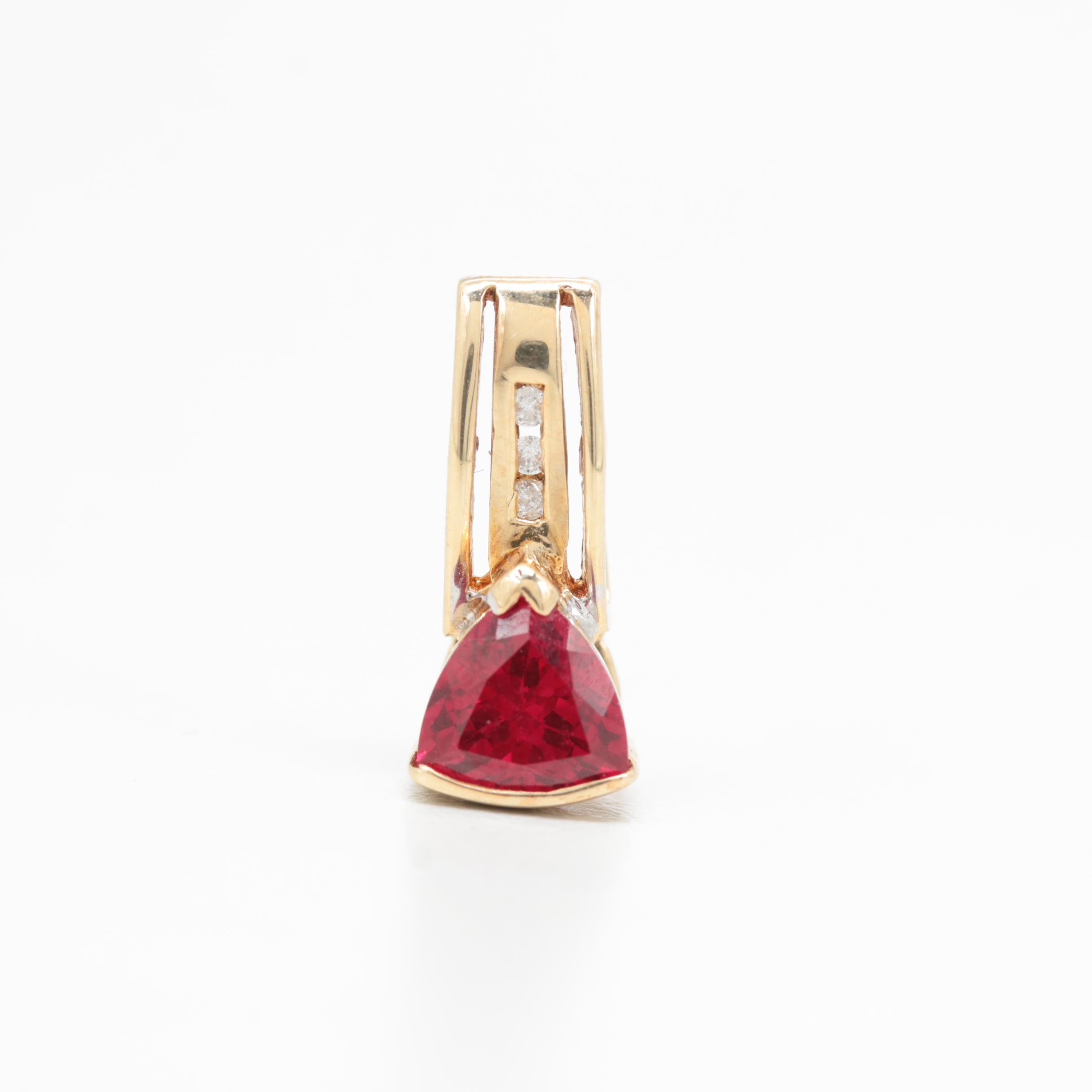 14K Yellow Gold Diamond and Synthetic Ruby Pendant