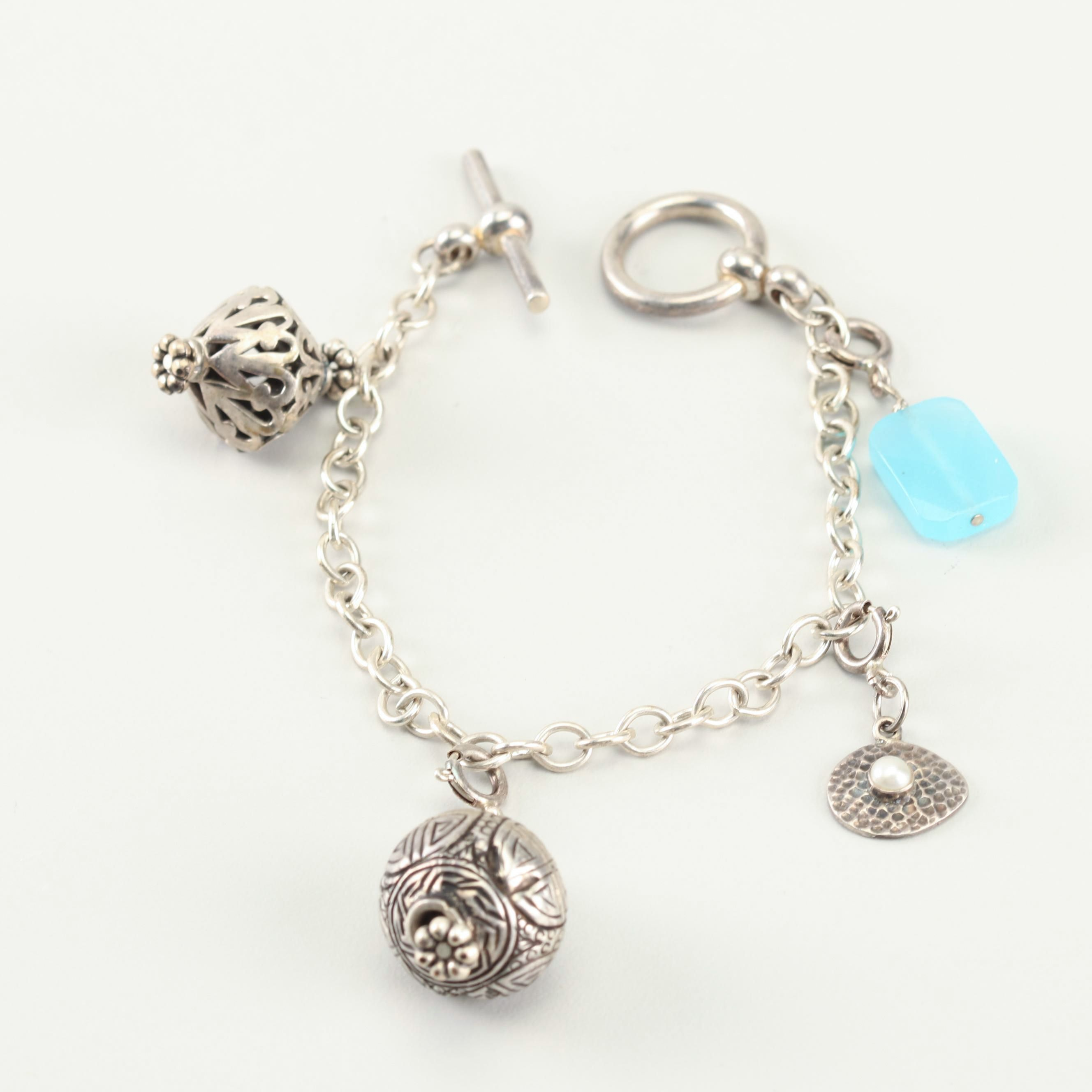 Sterling and 900 Silver Charm Bracelet