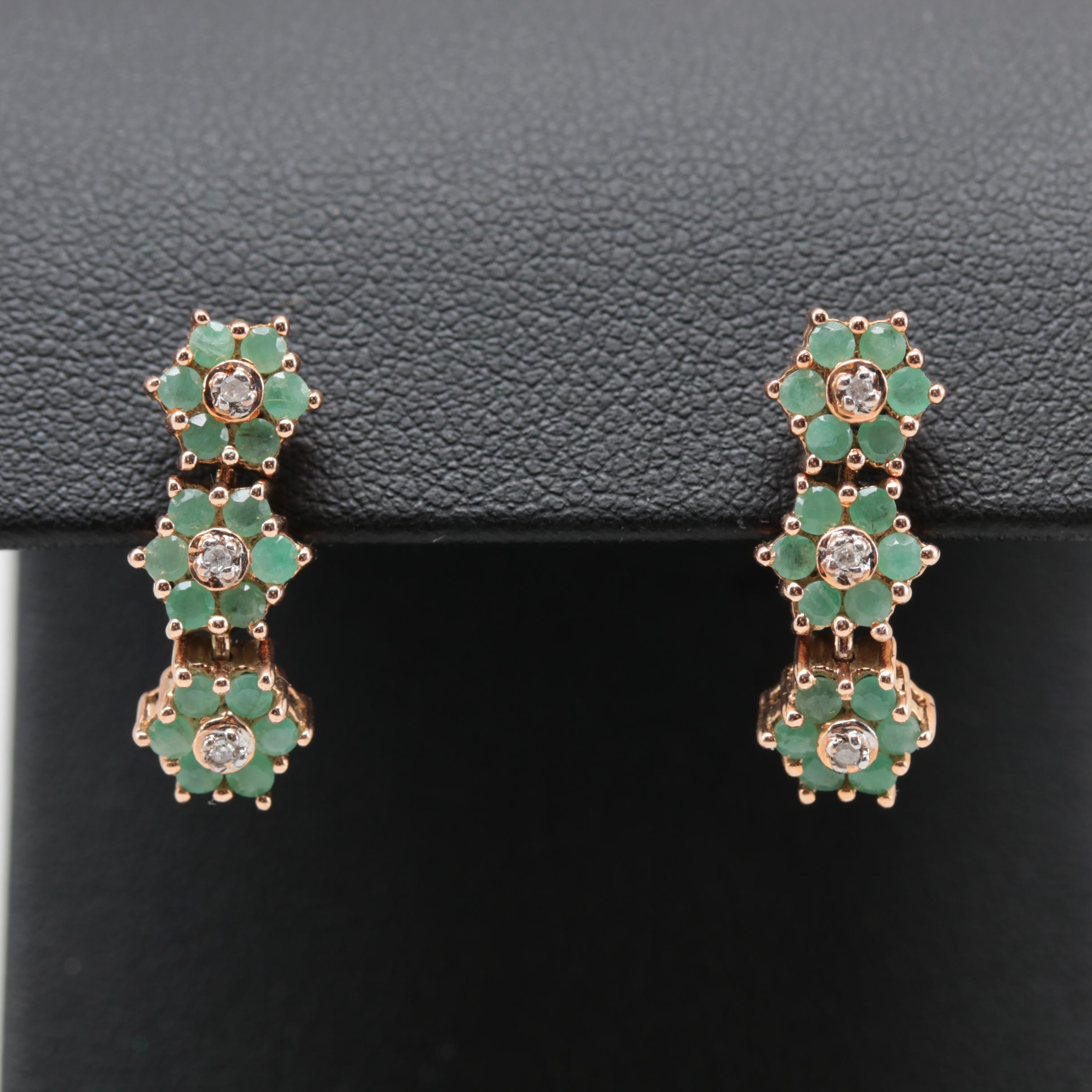 10K Rose Gold Diamond and Emerald Drop Earrings