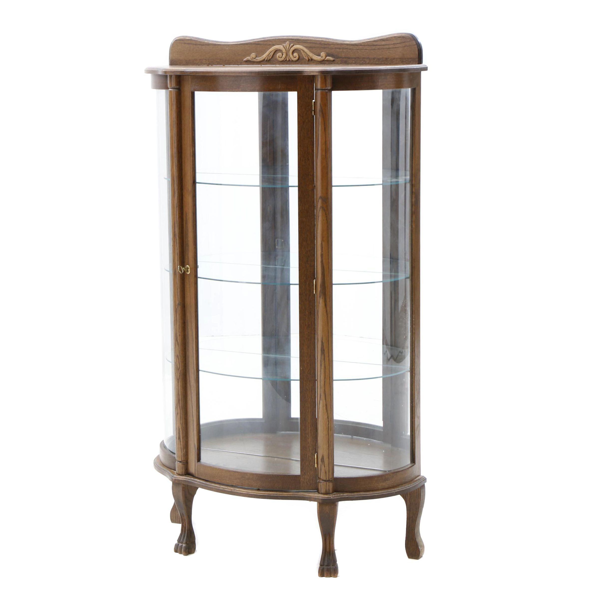 Oak Demilune Lighted Curio Cabinet