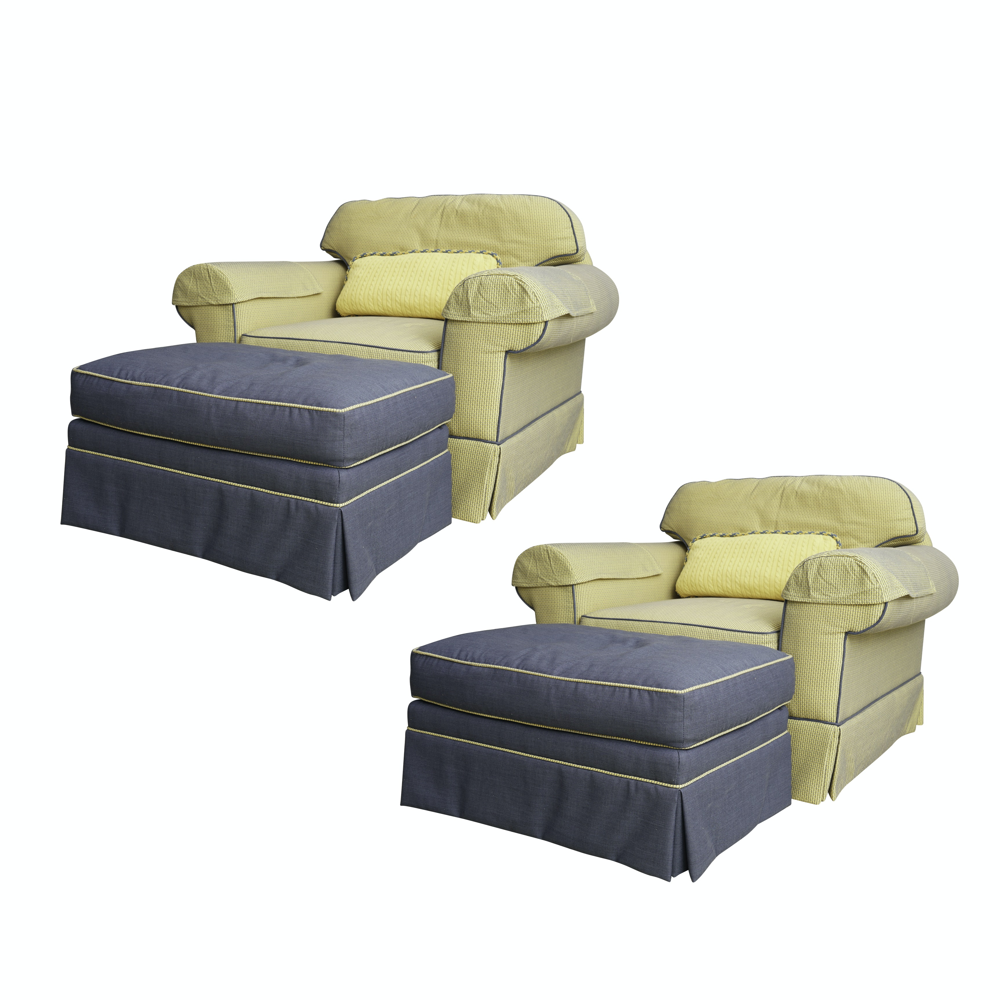 Yellow and Blue Oversized Armchair and Ottoman Sets by Century Furniture