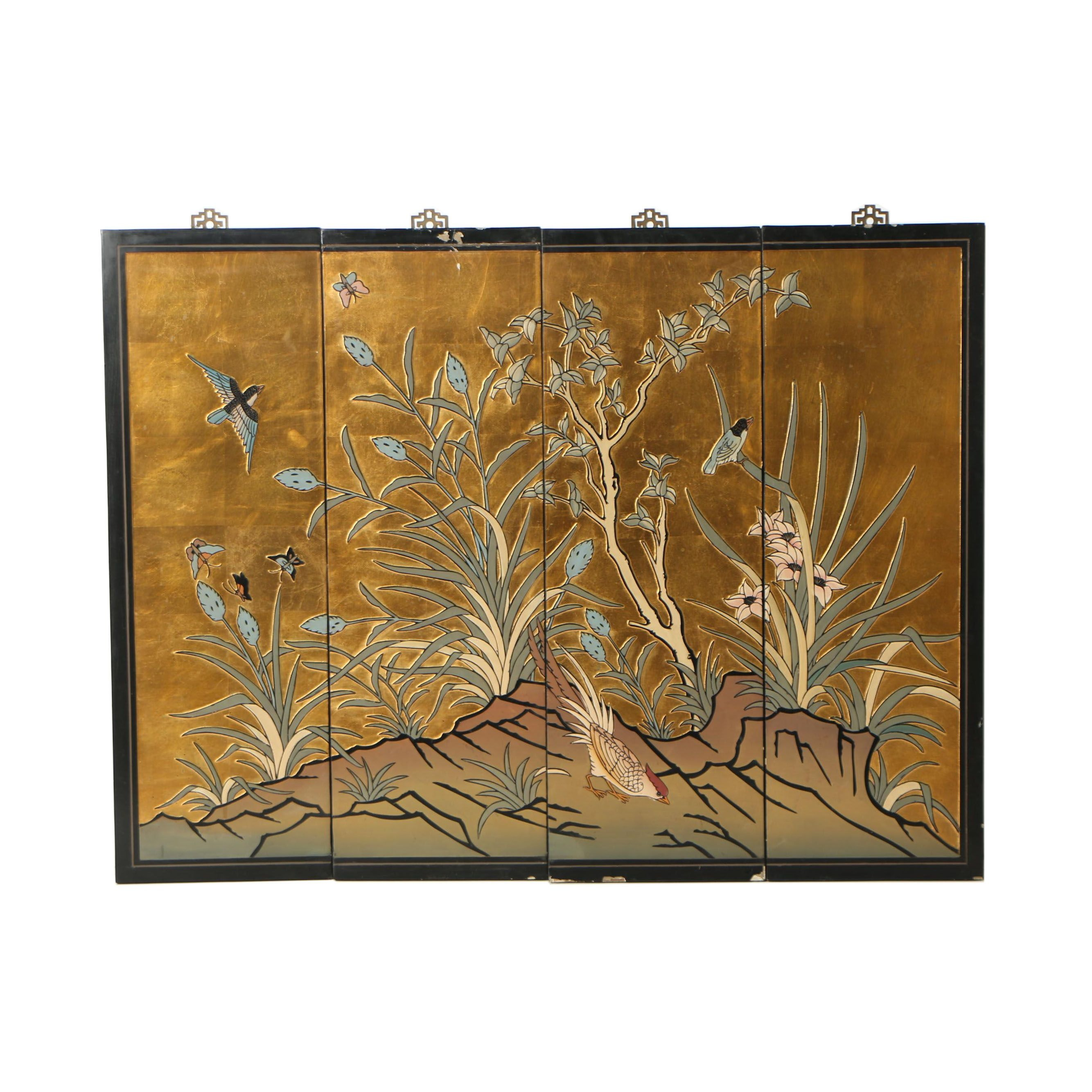 Chinese Gilt Coromandel Hand-Painted Carved Wood Panels
