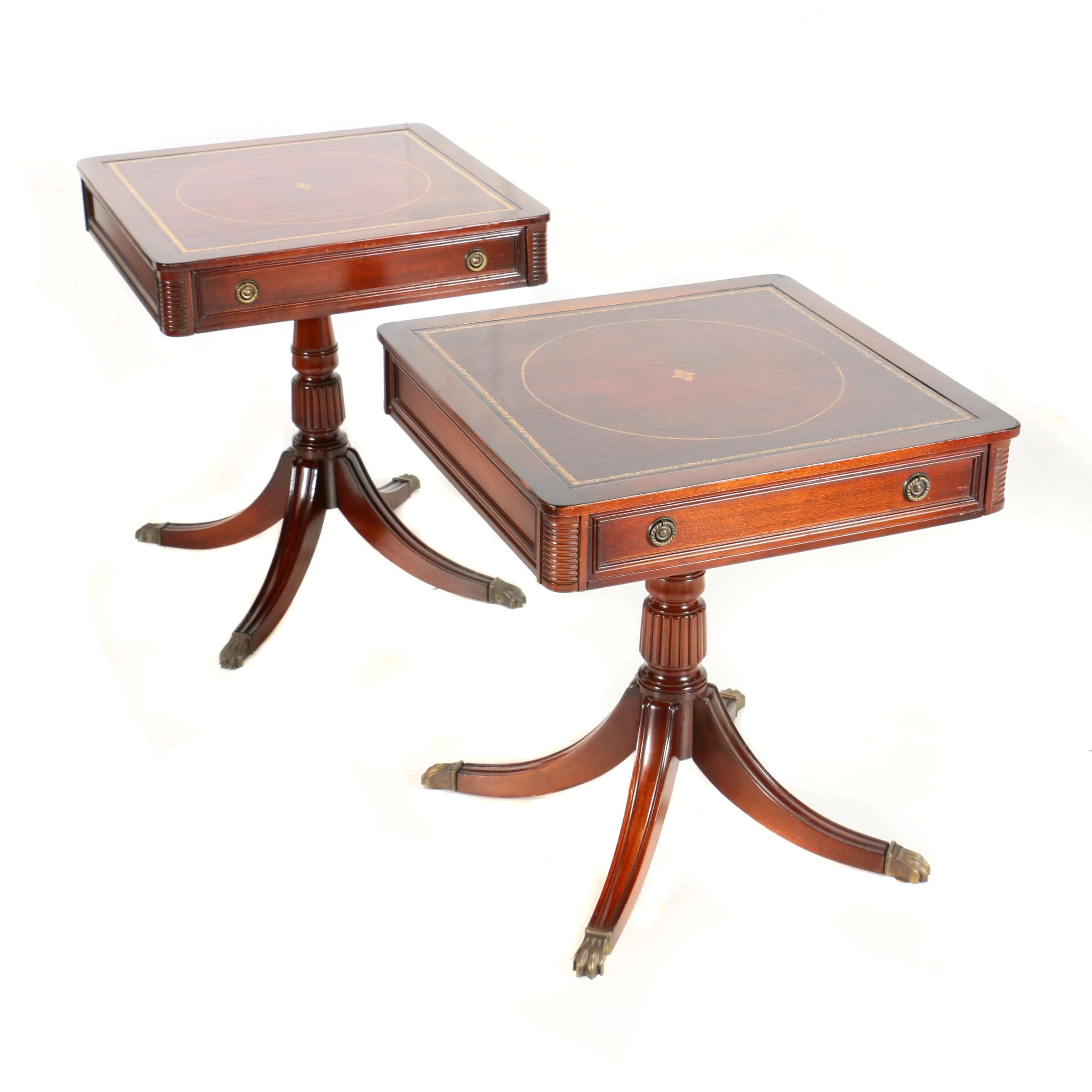 Regency Style Mahogany and Leather Side Tables by Gordon's, 20th Century