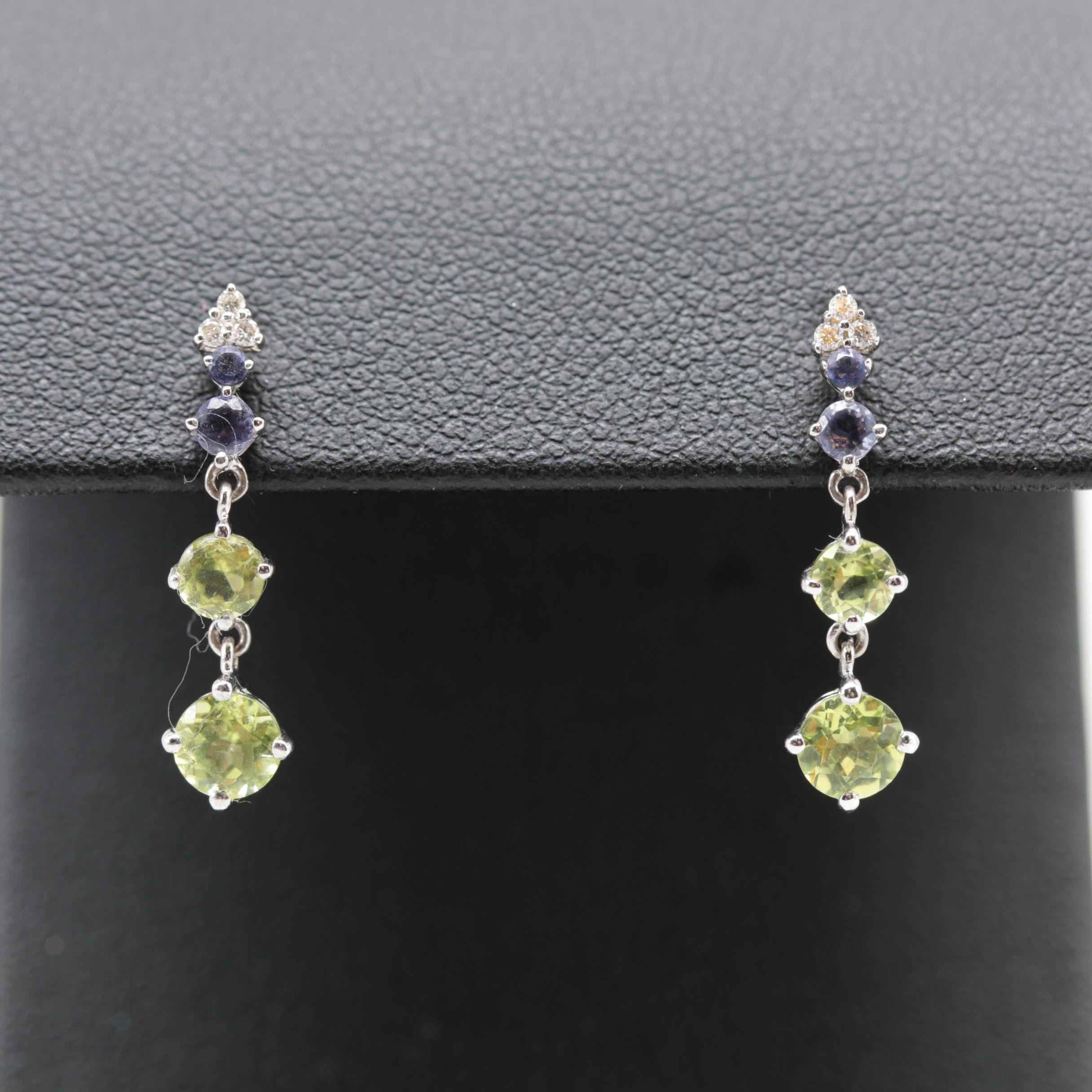 14K White Gold Peridot, Tanzanite and Diamond Dangle Earrings