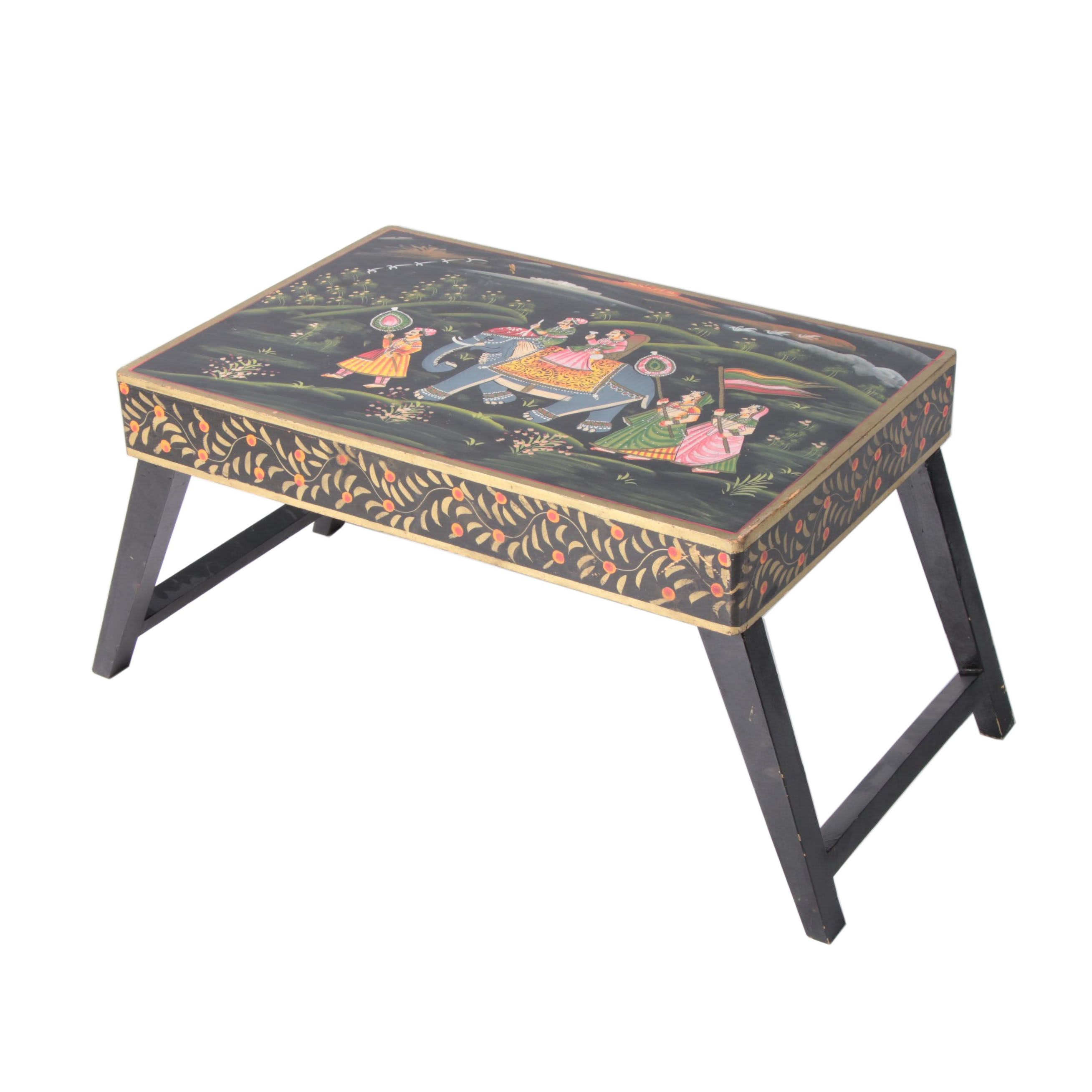 Hand-Painted South Asian Style Wooden Folding Table
