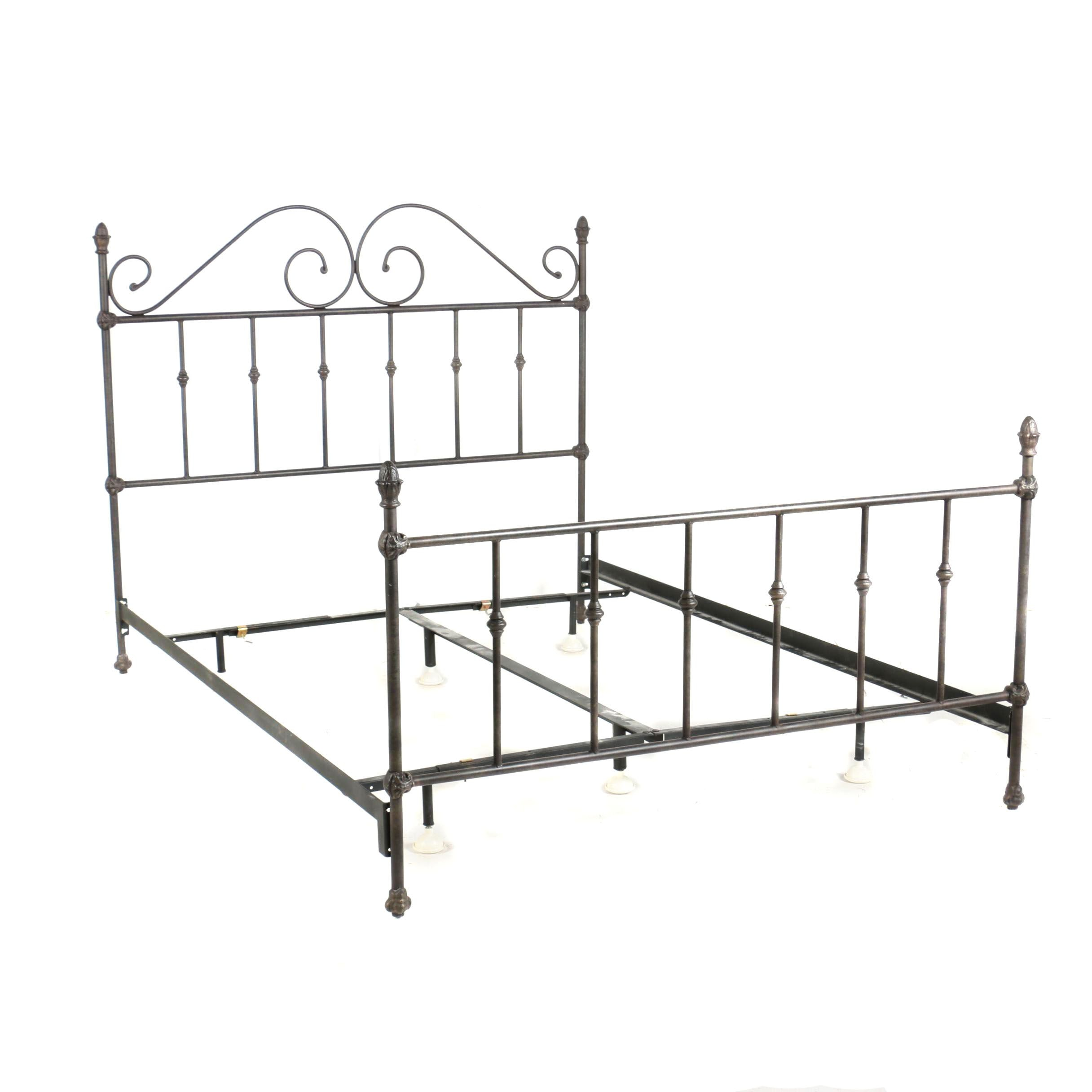 Victorian Style Patinated Metal Full Size Bed Frame, 20th Century