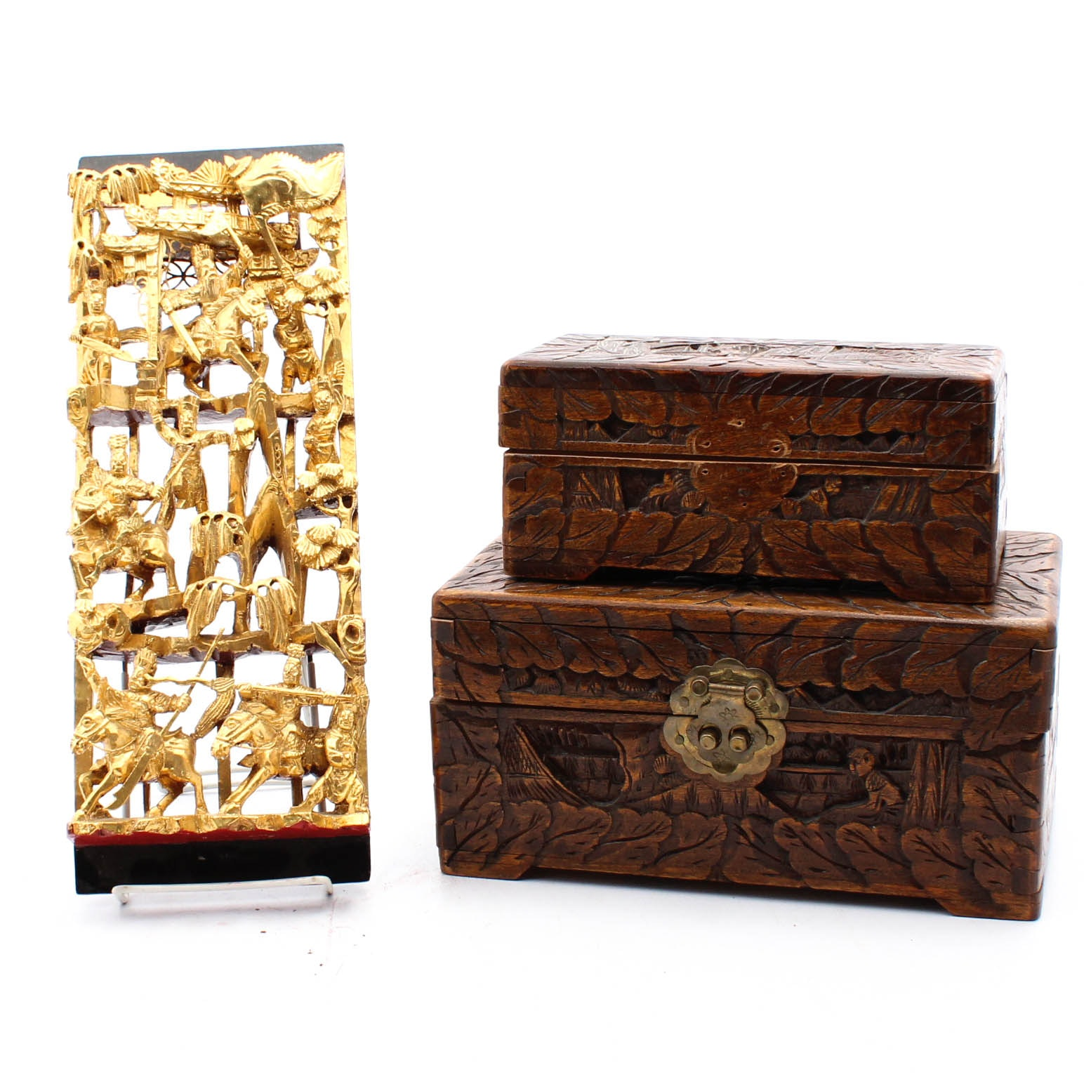 Carved Chinese Camphor Wood Boxes and Decorative Carving