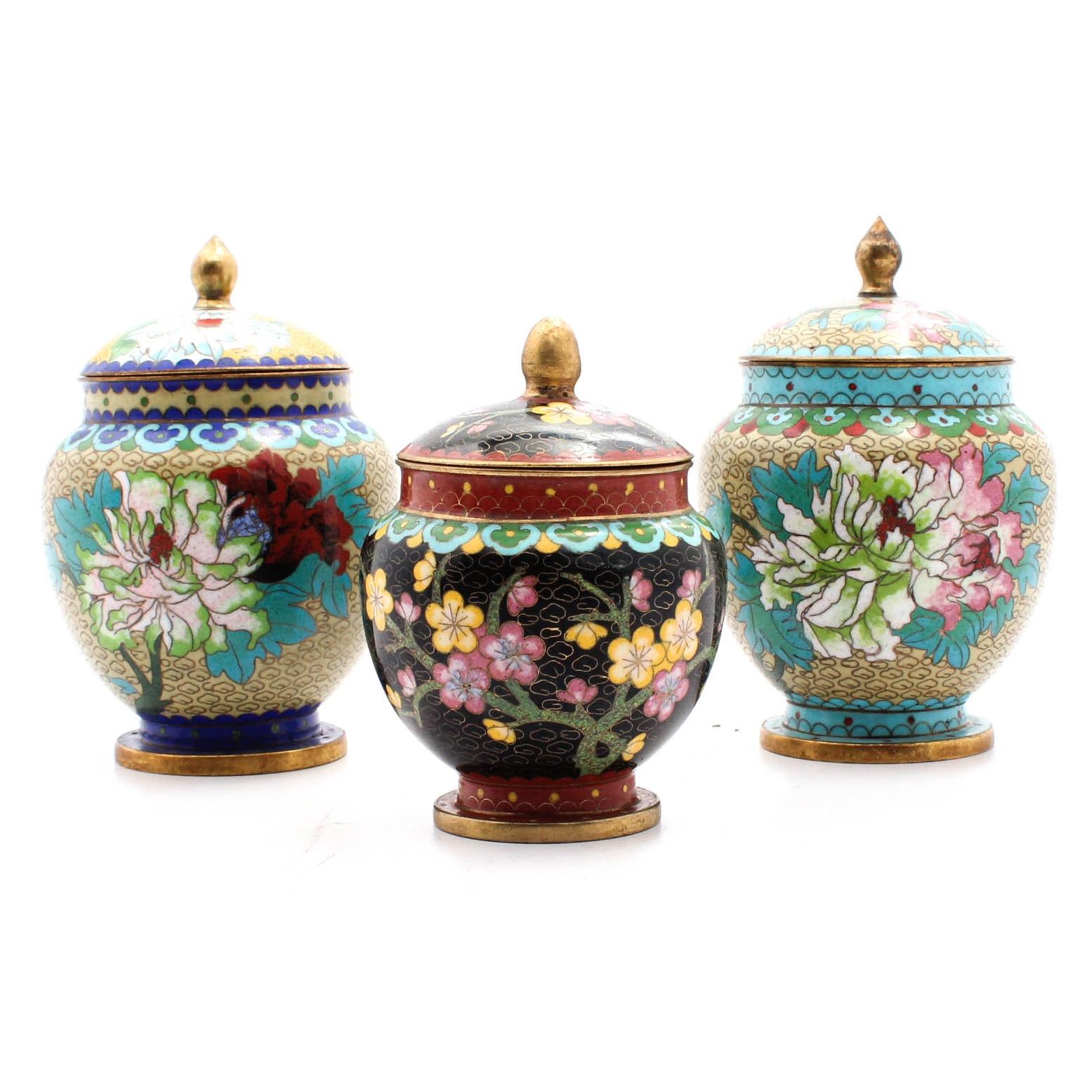 Chinese Cloisonné Decorative Jars