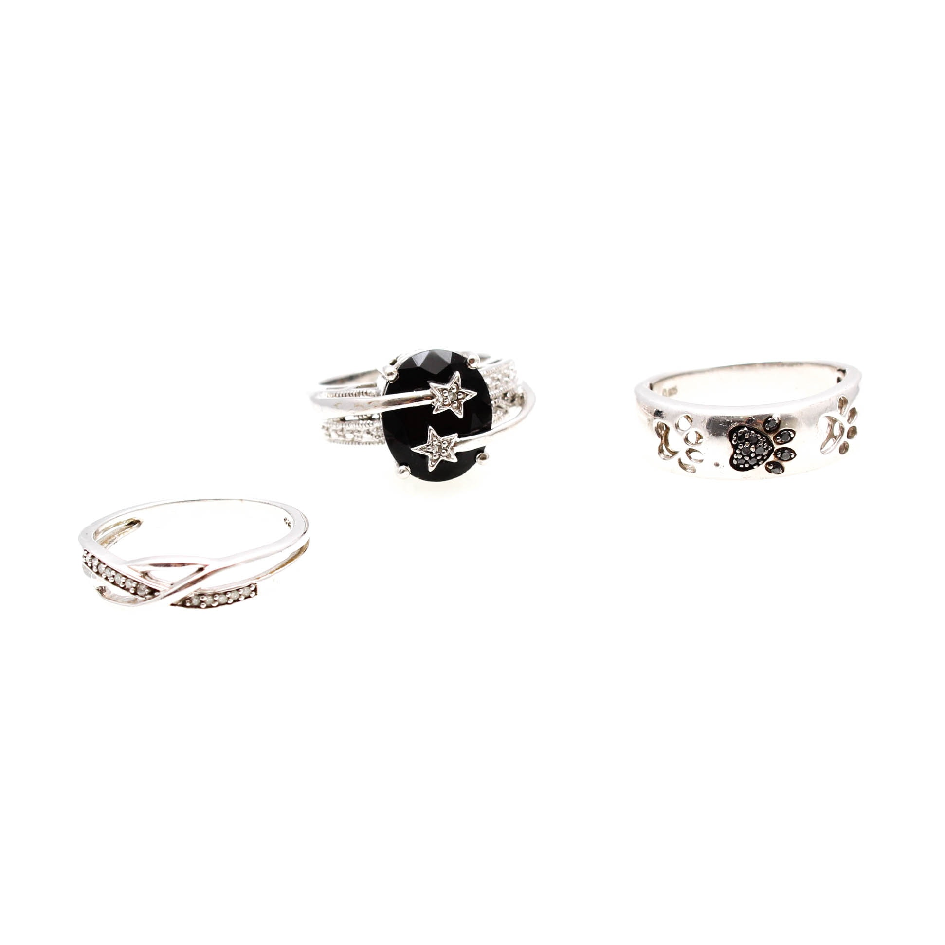 Sterling Silver Diamond and Onyx Rings