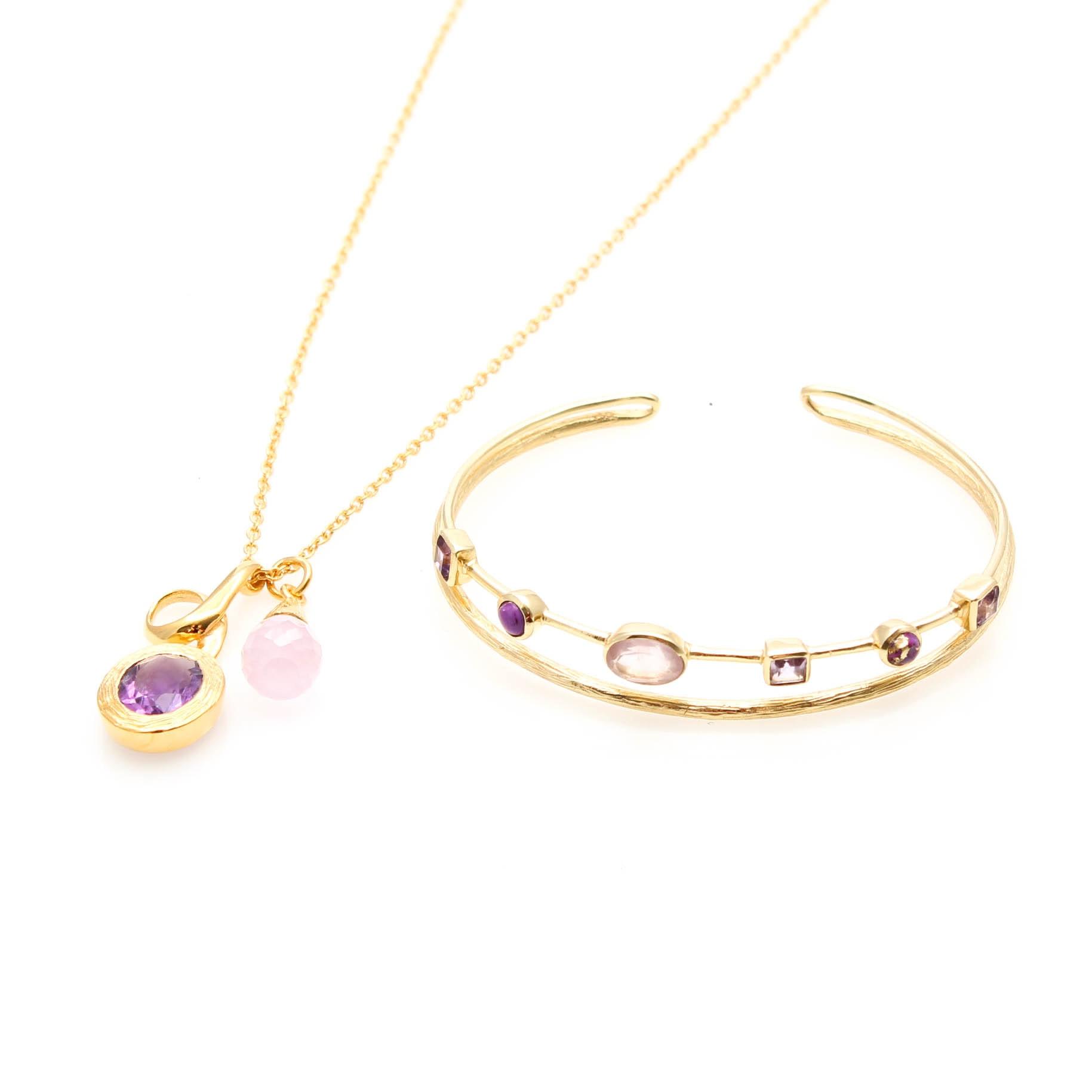 Gold Tone Rose Quartz and Amethyst Jewelry