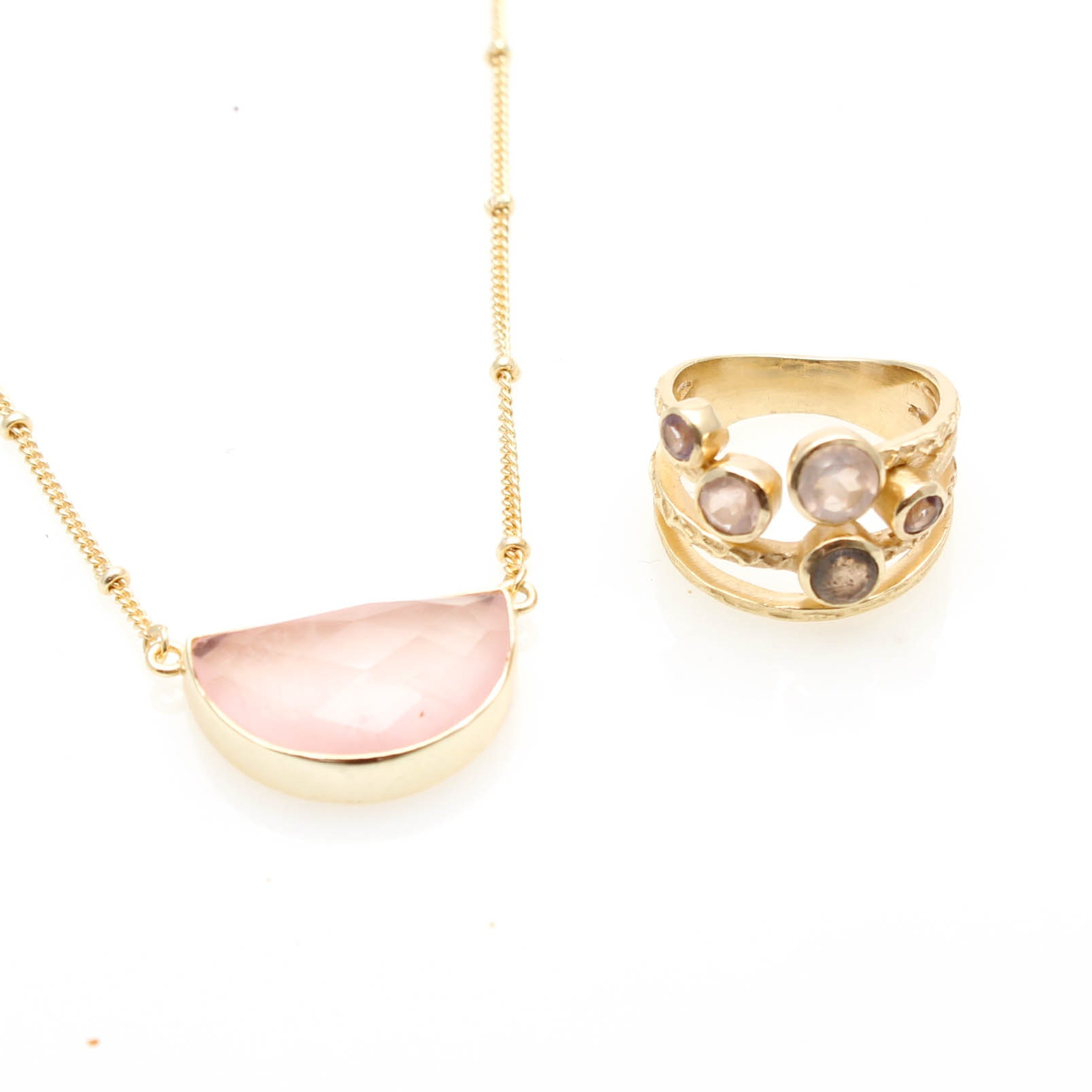 Gold Tone Rose Quartz and Labradorite Necklace and Ring