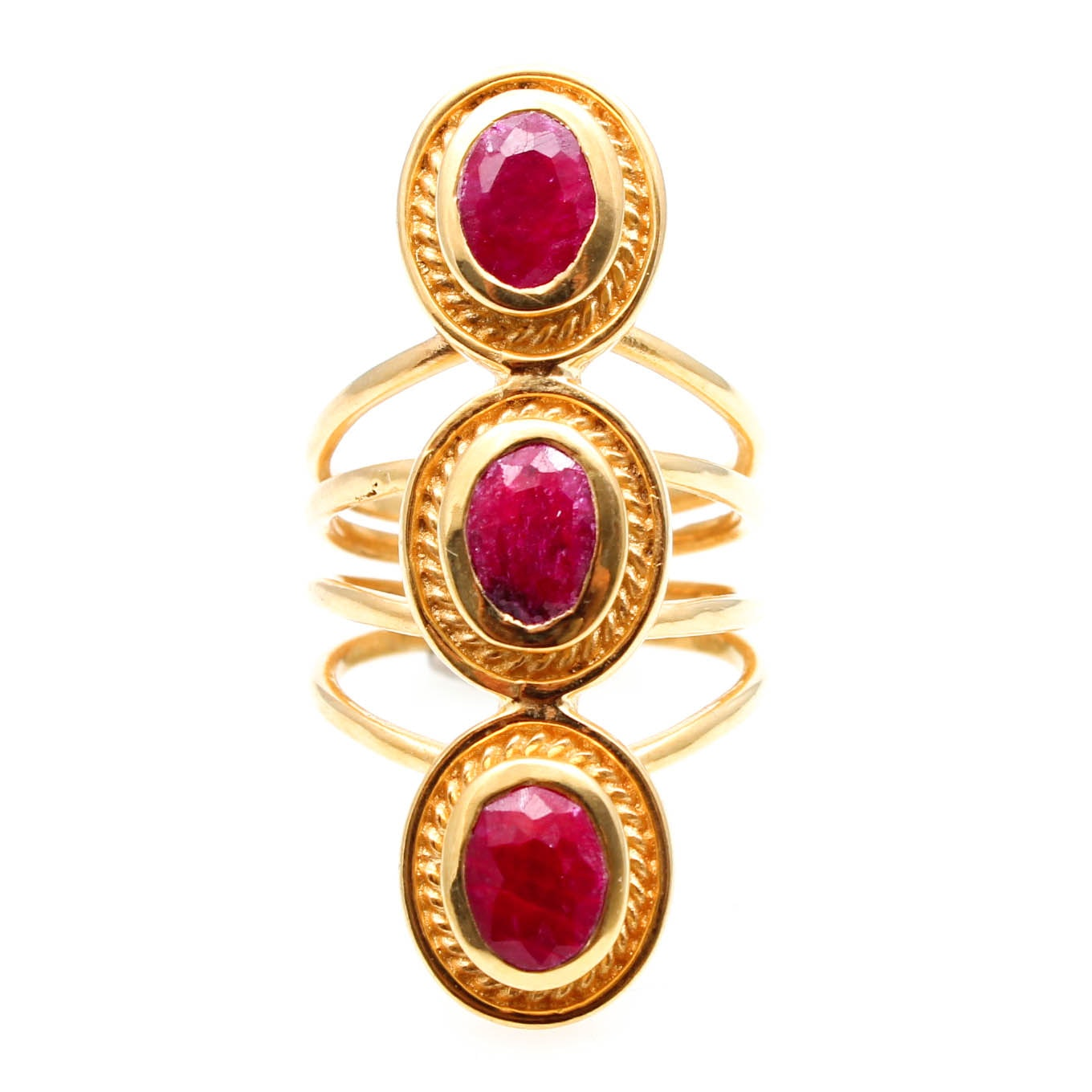 Gold Tone Opaque Ruby Statement Ring