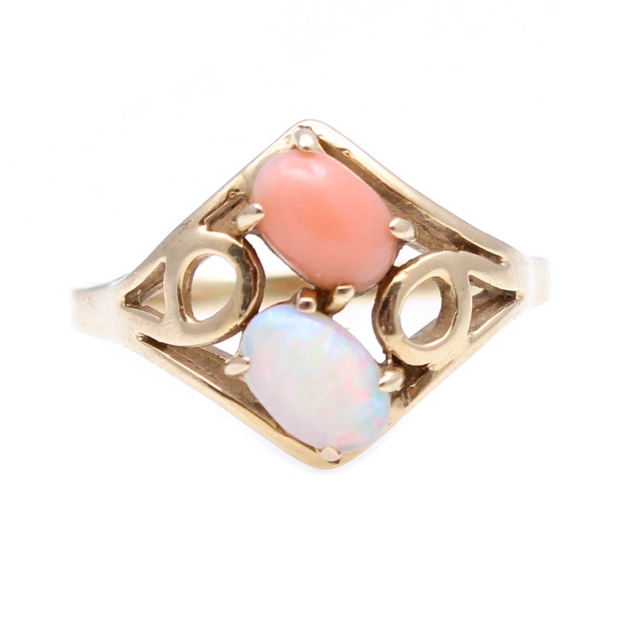 14K Yellow Gold Coral Opal Ring