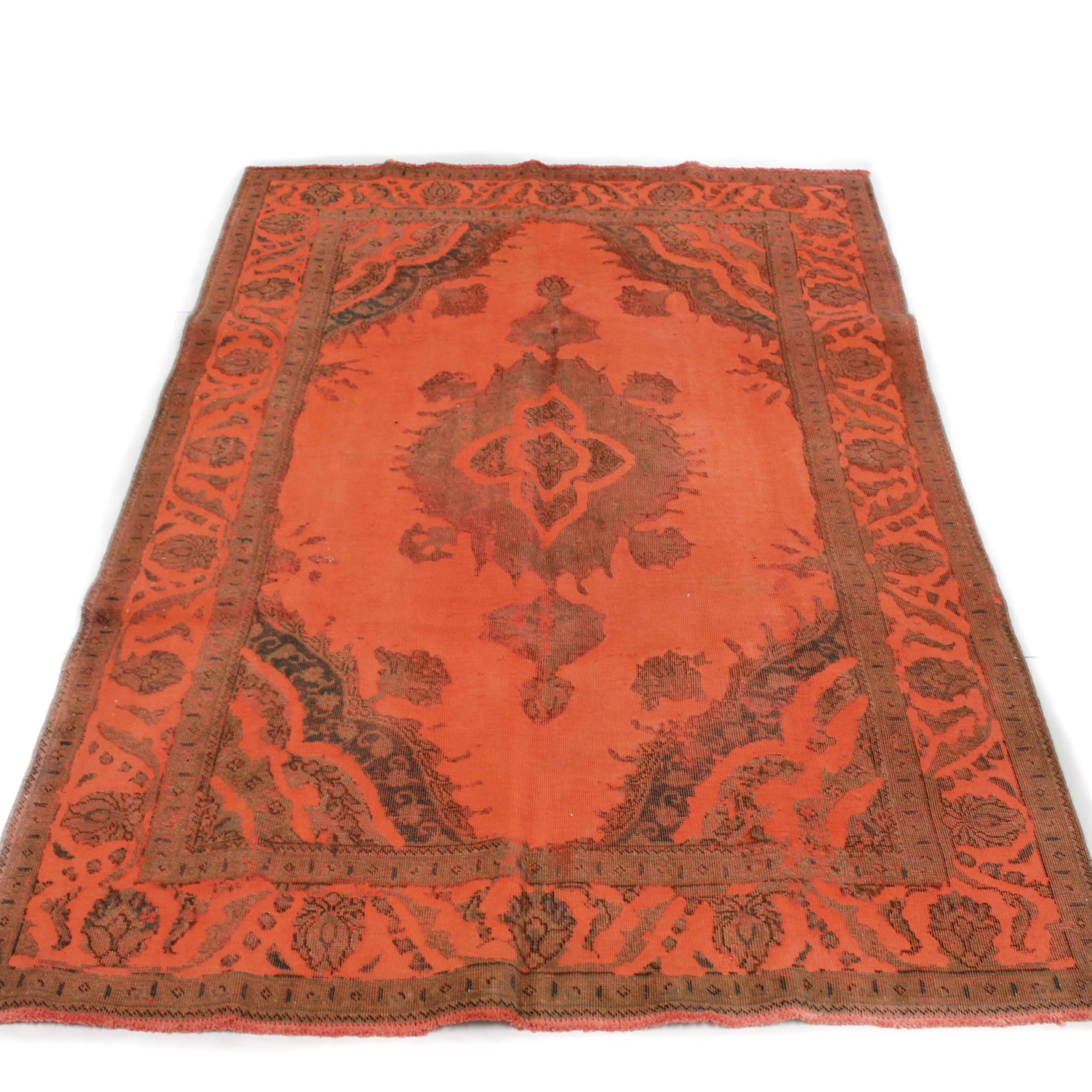 Semi-Antique Hand-Knotted Persian Tabriz Over-Dyed Rug