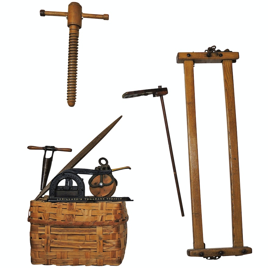 Rustic Implements Including Lorillard's Tobacco Cutter