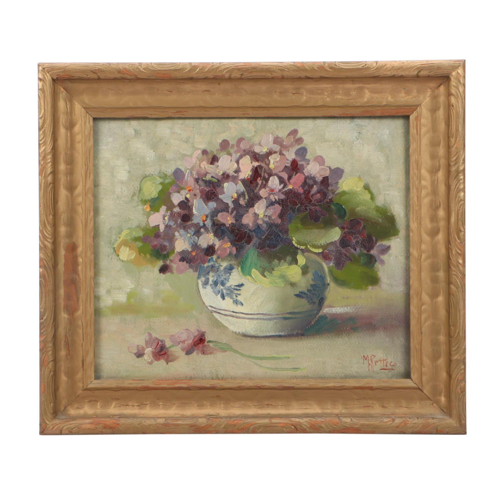 """Martin Rettig Floral Still Life Oil Painting """"Violets"""""""