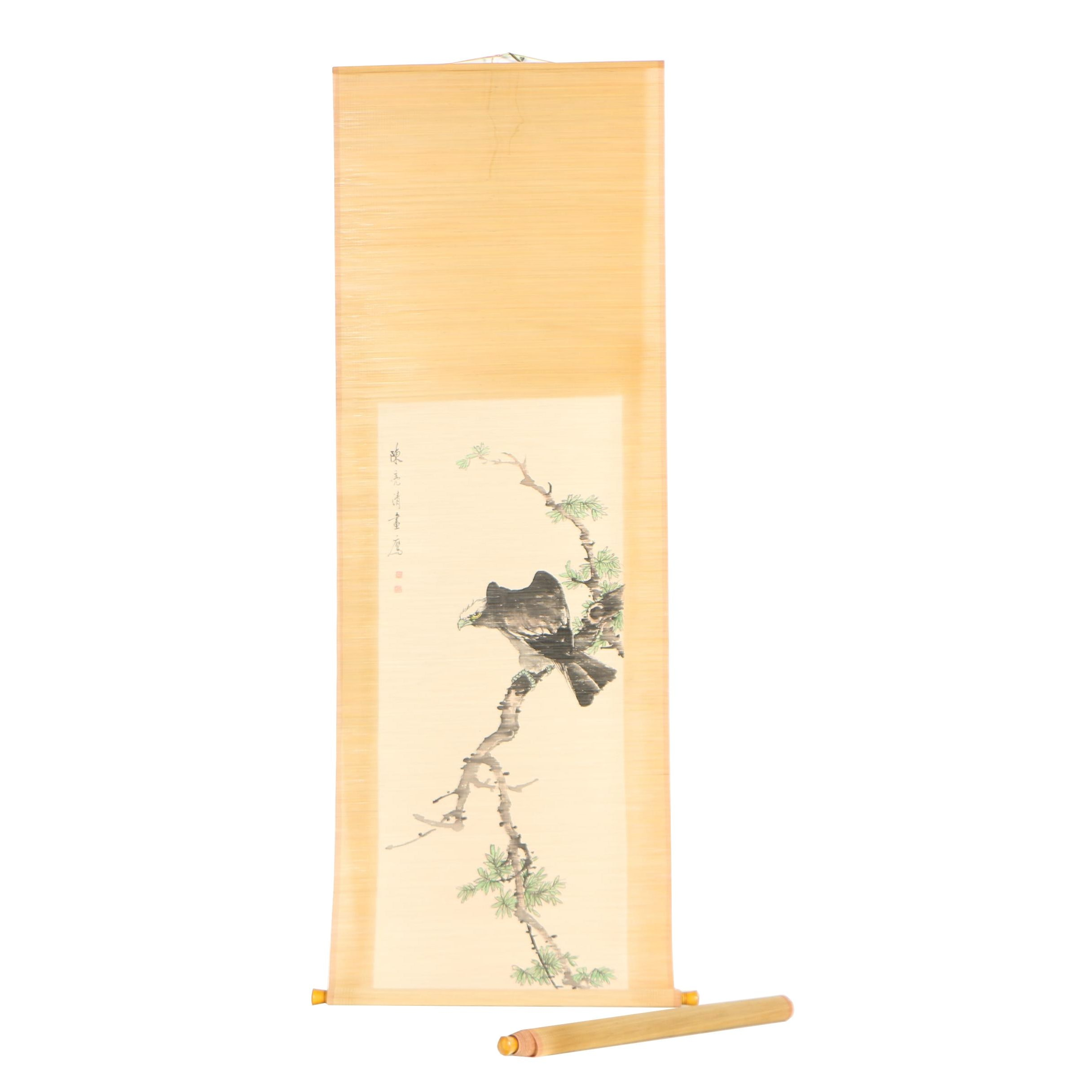 Chinese Ink and Gouache Wall Hanging Scrolls