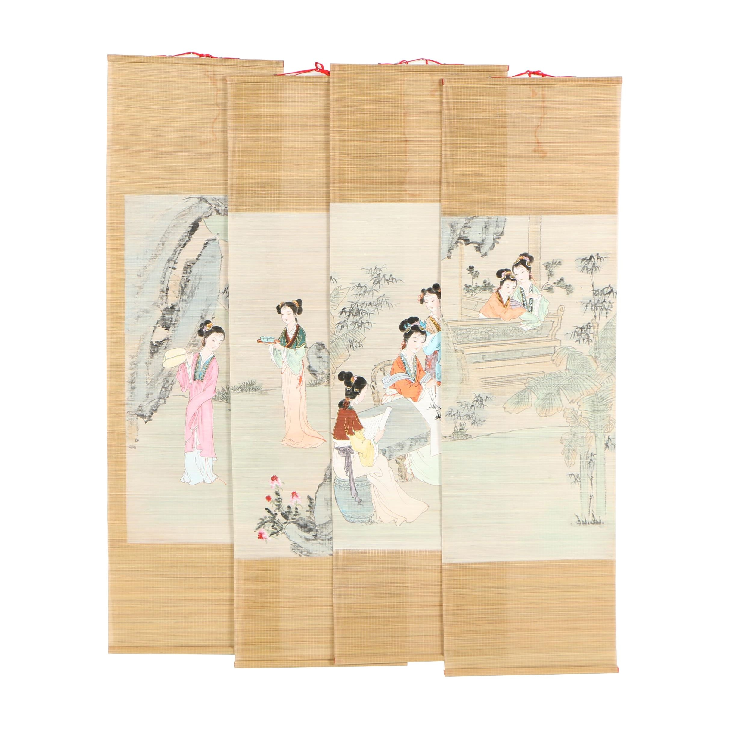 Chinese Four Panel Ink and Gouache Paintings on Bamboo Scrolls