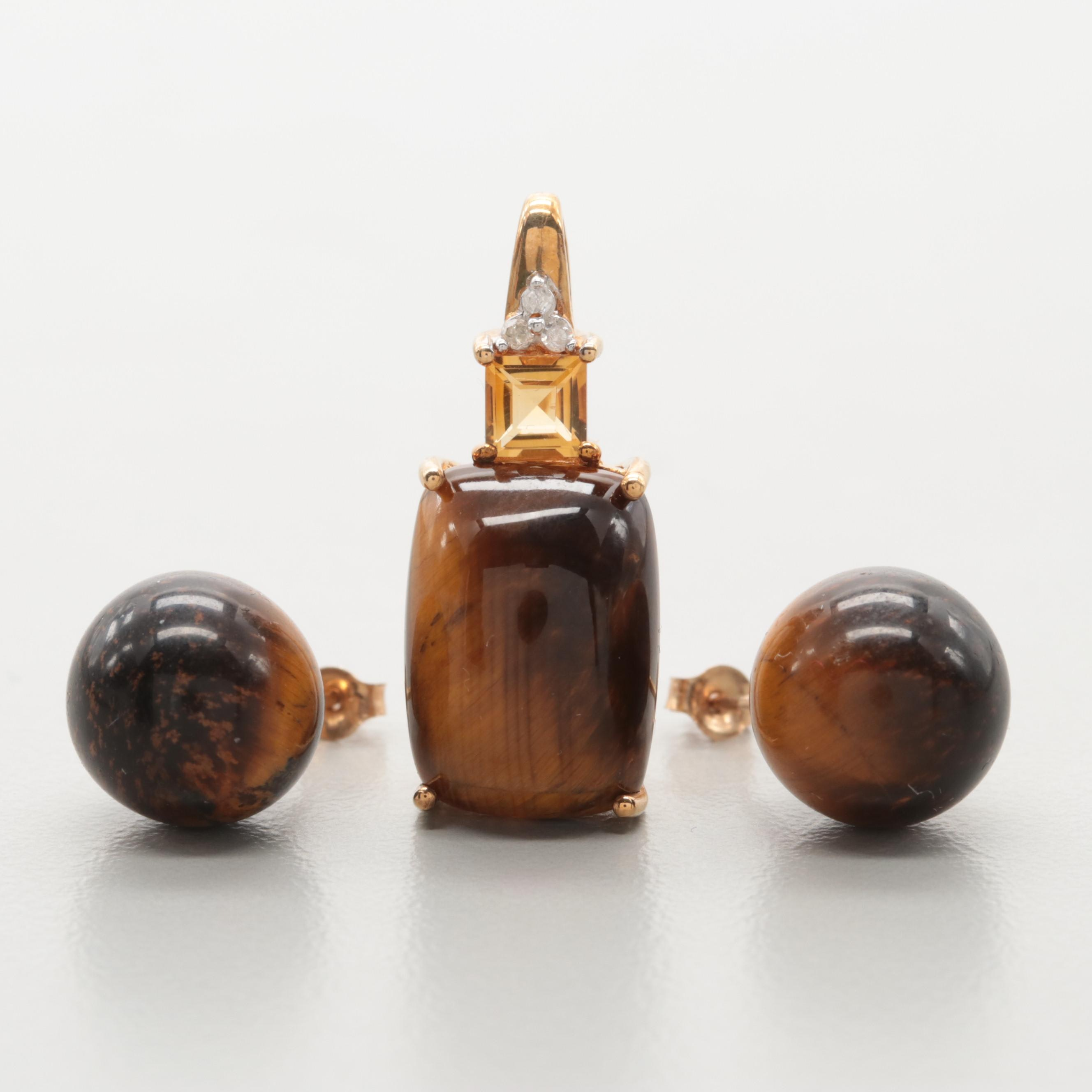 10K Yellow Gold Tiger's Eye, Citrine, and Diamond Pendant and Stud Earrings