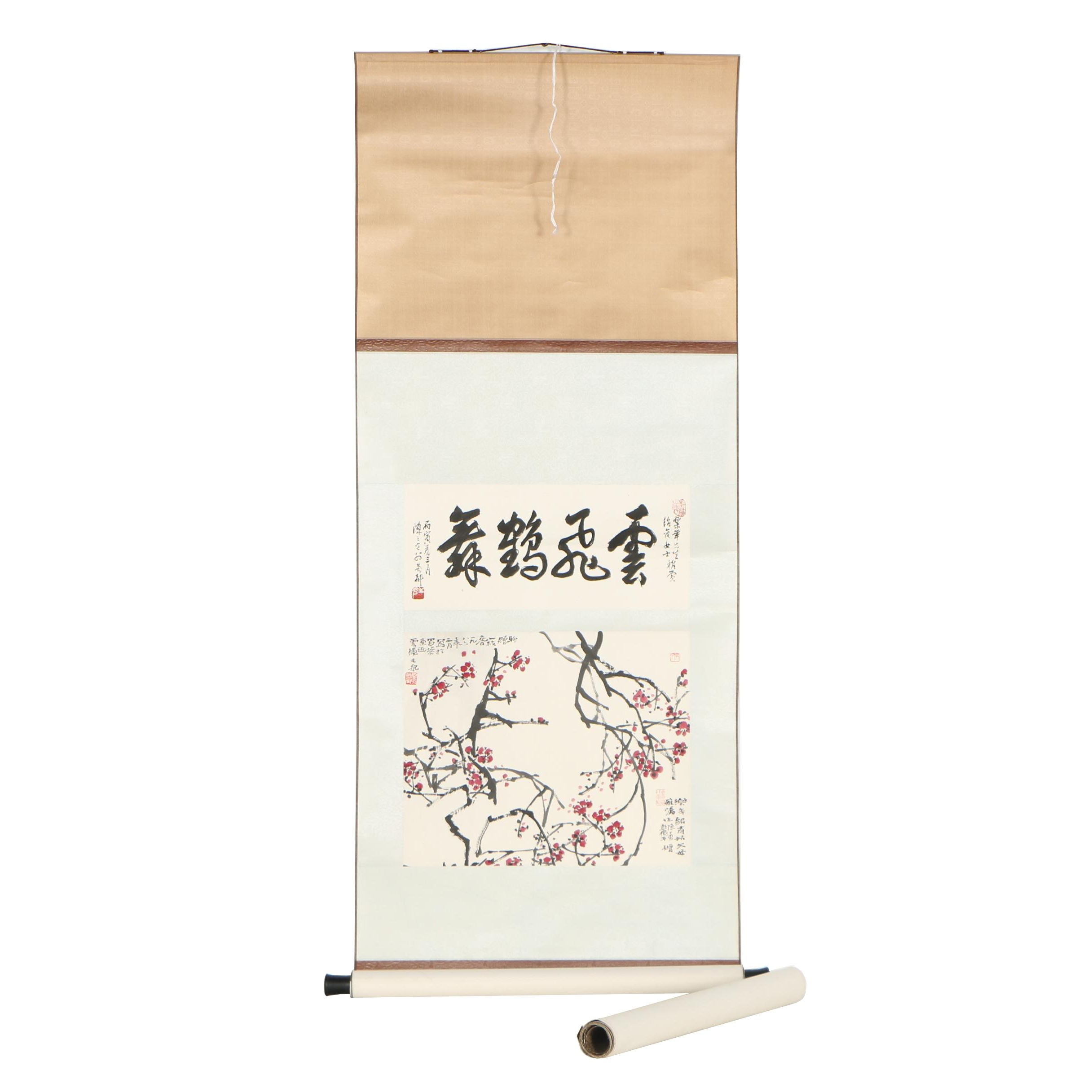 Chinese Ink and Gouache Hanging Scrolls