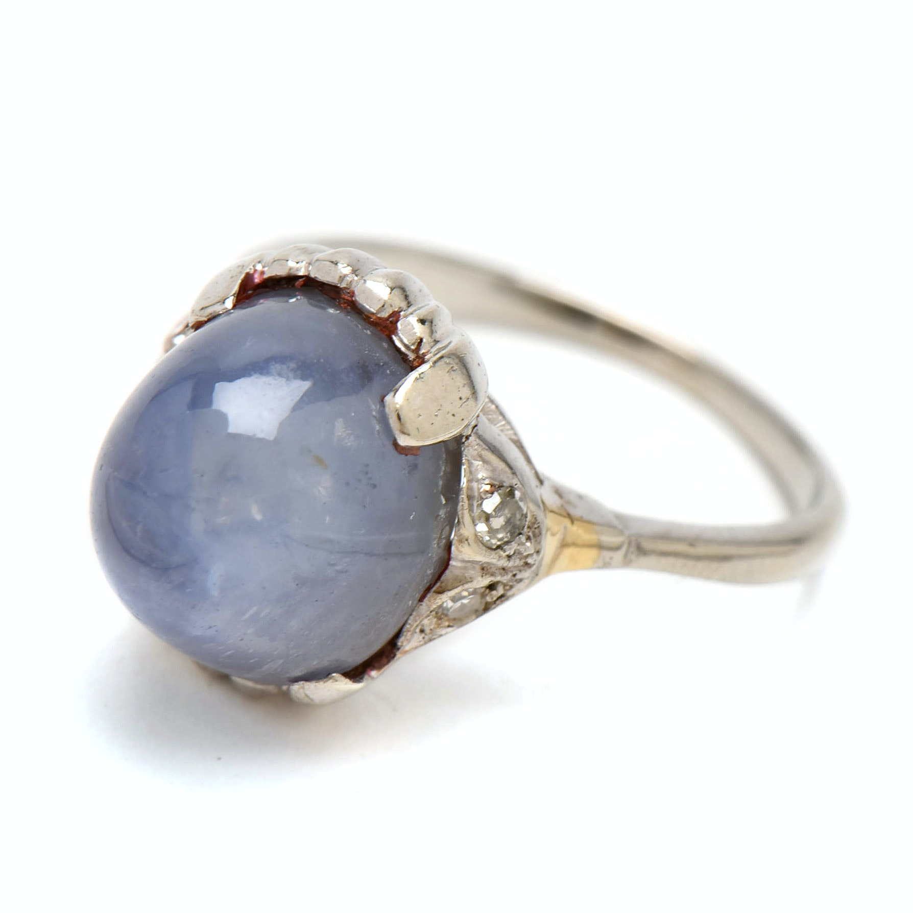 14K White Gold 15.65 CT Blue Star Sapphire and Diamond Ring