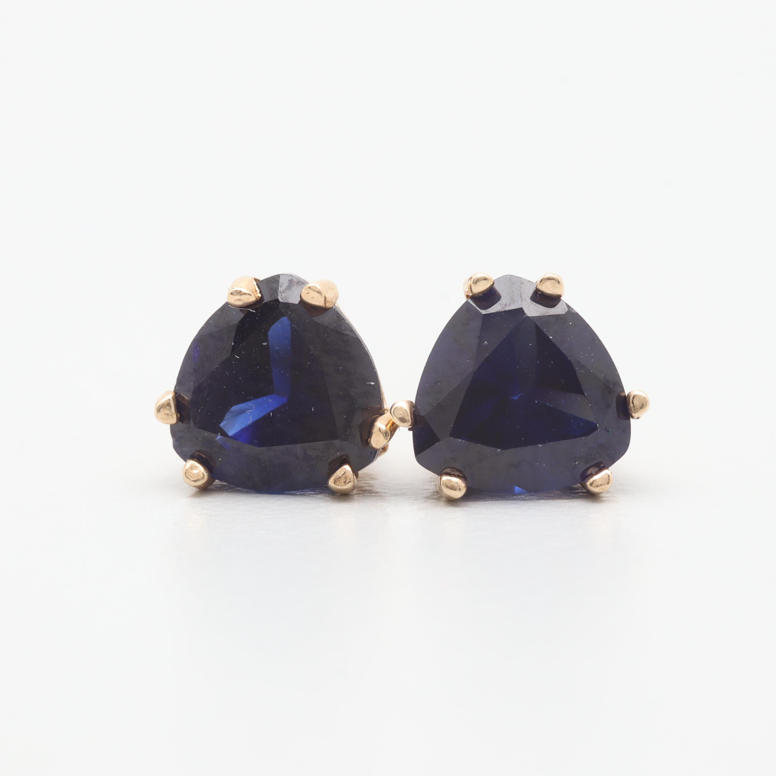 10K Yellow Gold Synthetic Sapphire Stud Earrings