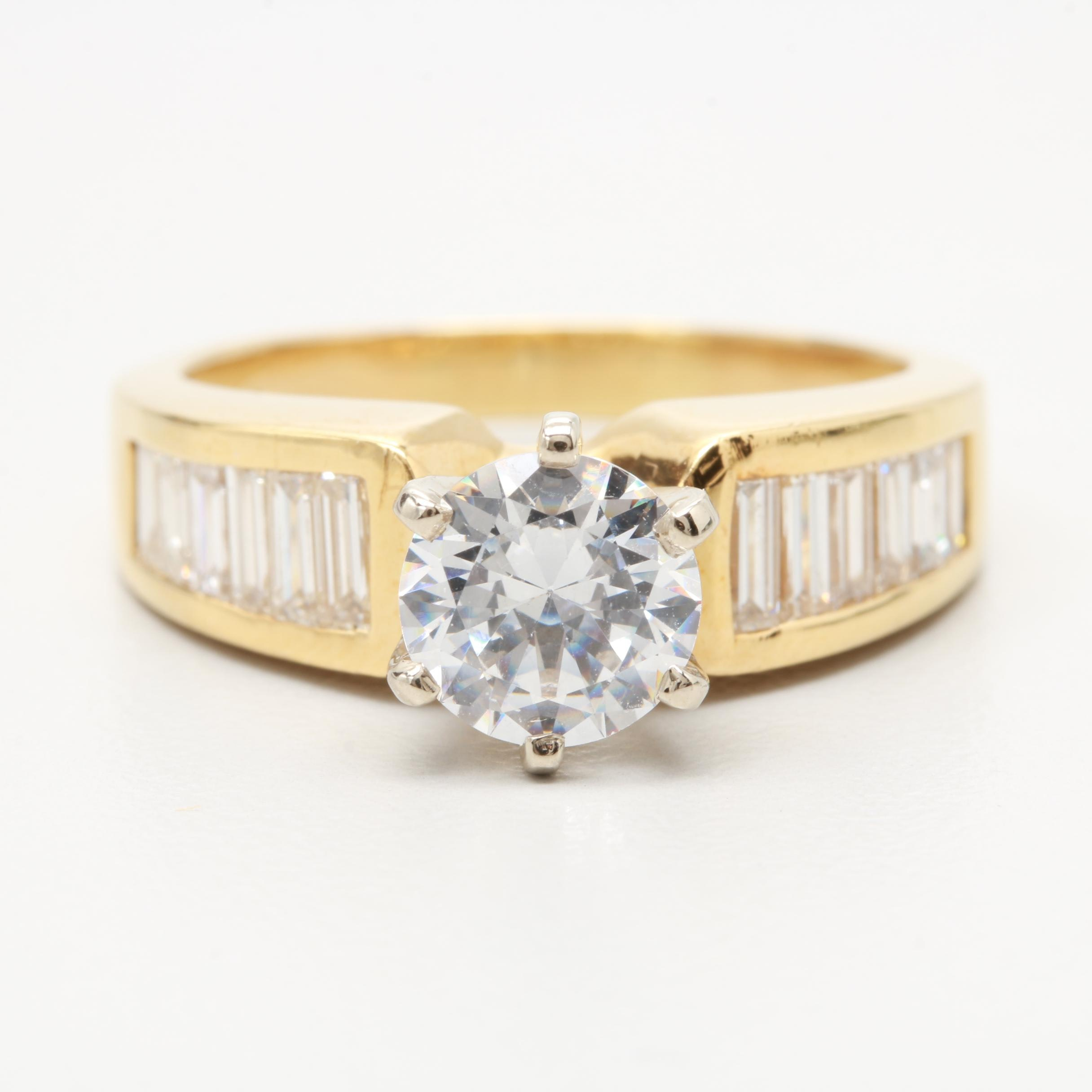 14K and 18K Yellow Gold 1.00 CTW Diamond Semi-Mount Ring with Cubic Zirconia