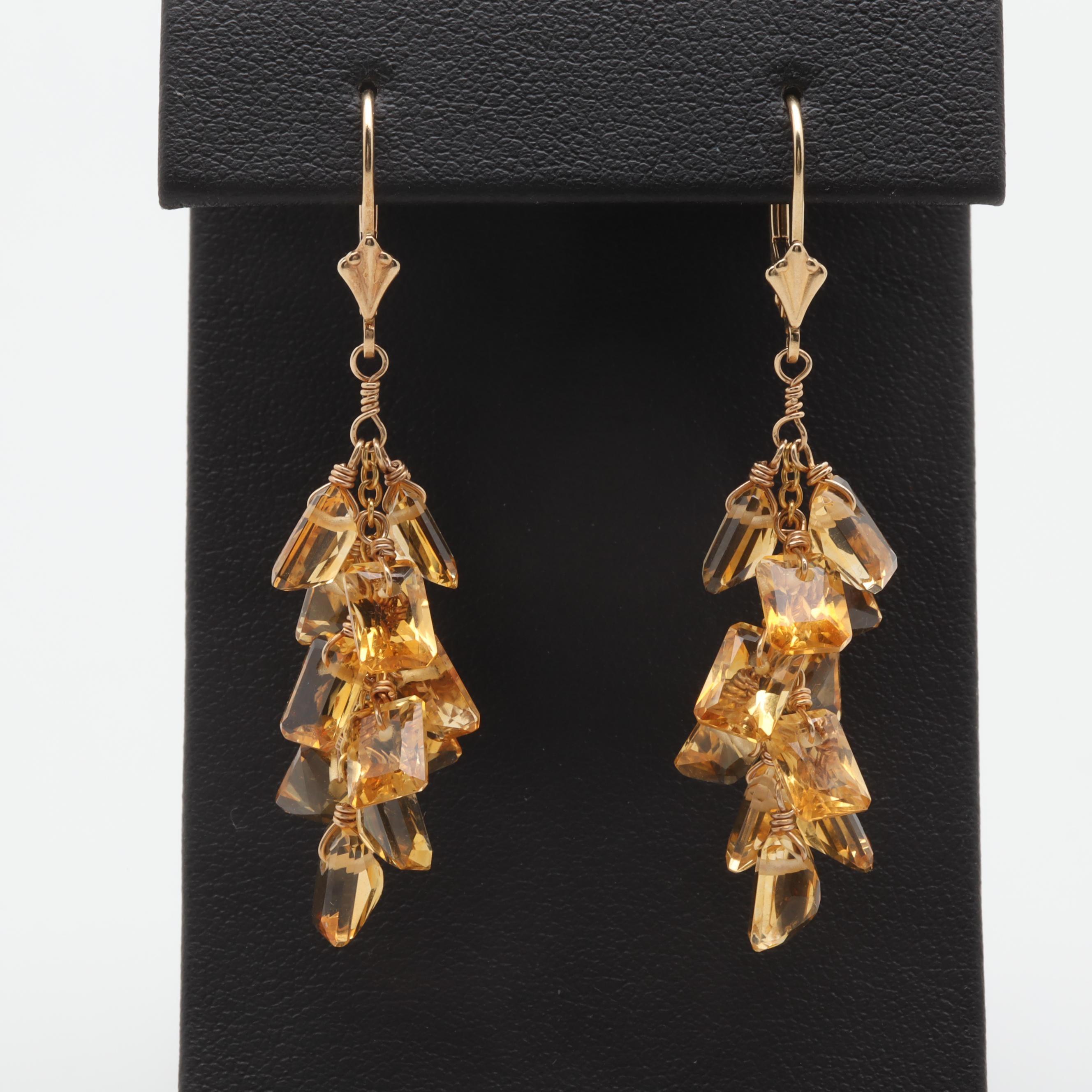 14K Yellow Gold Citrine Dangle Earrings