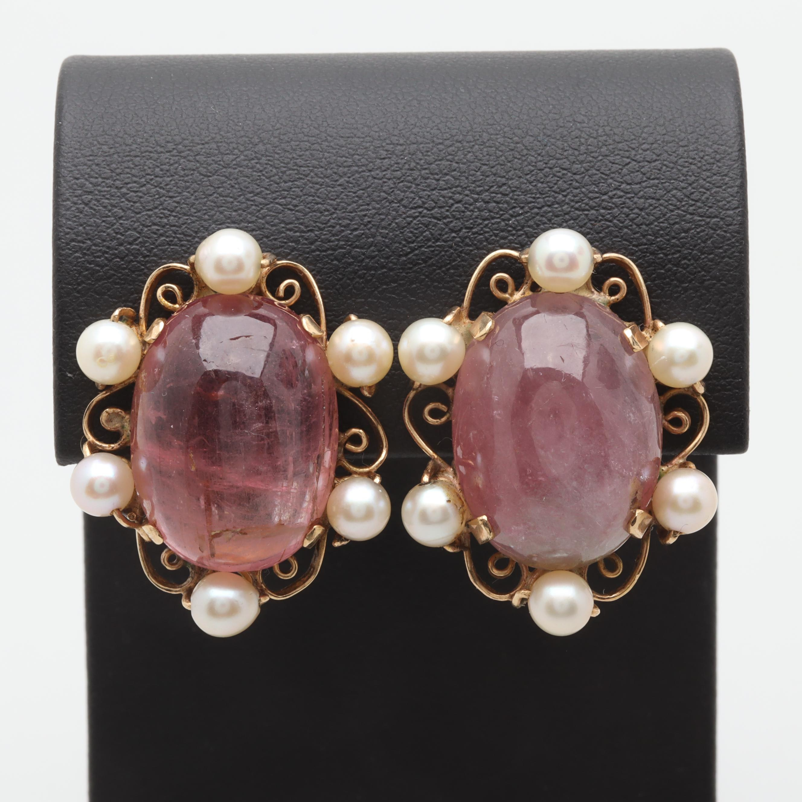 14K Yellow Gold 40.60 CTW Pink Tourmaline and Cultured Pearl Earrings