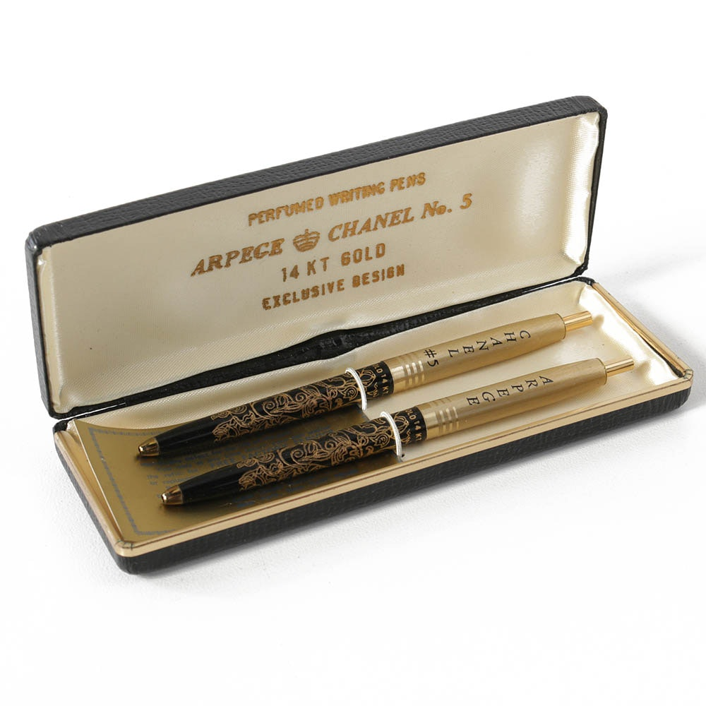"""Arpege and Chanel """"No. 5"""" Perfumed Pen Set with 14K Gold"""