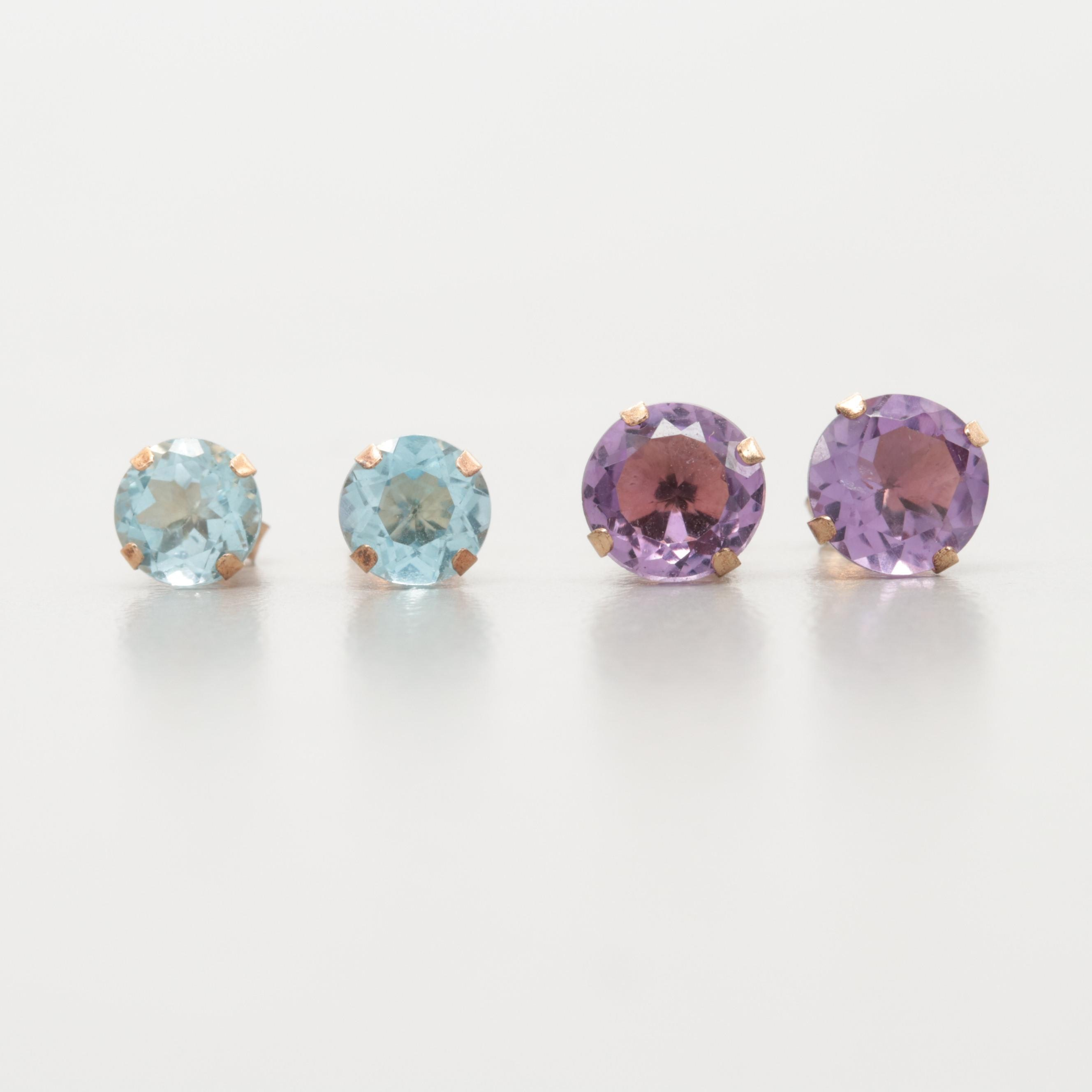10K Yellow Gold Stud Earrings with Amethyst and Blue Topaz