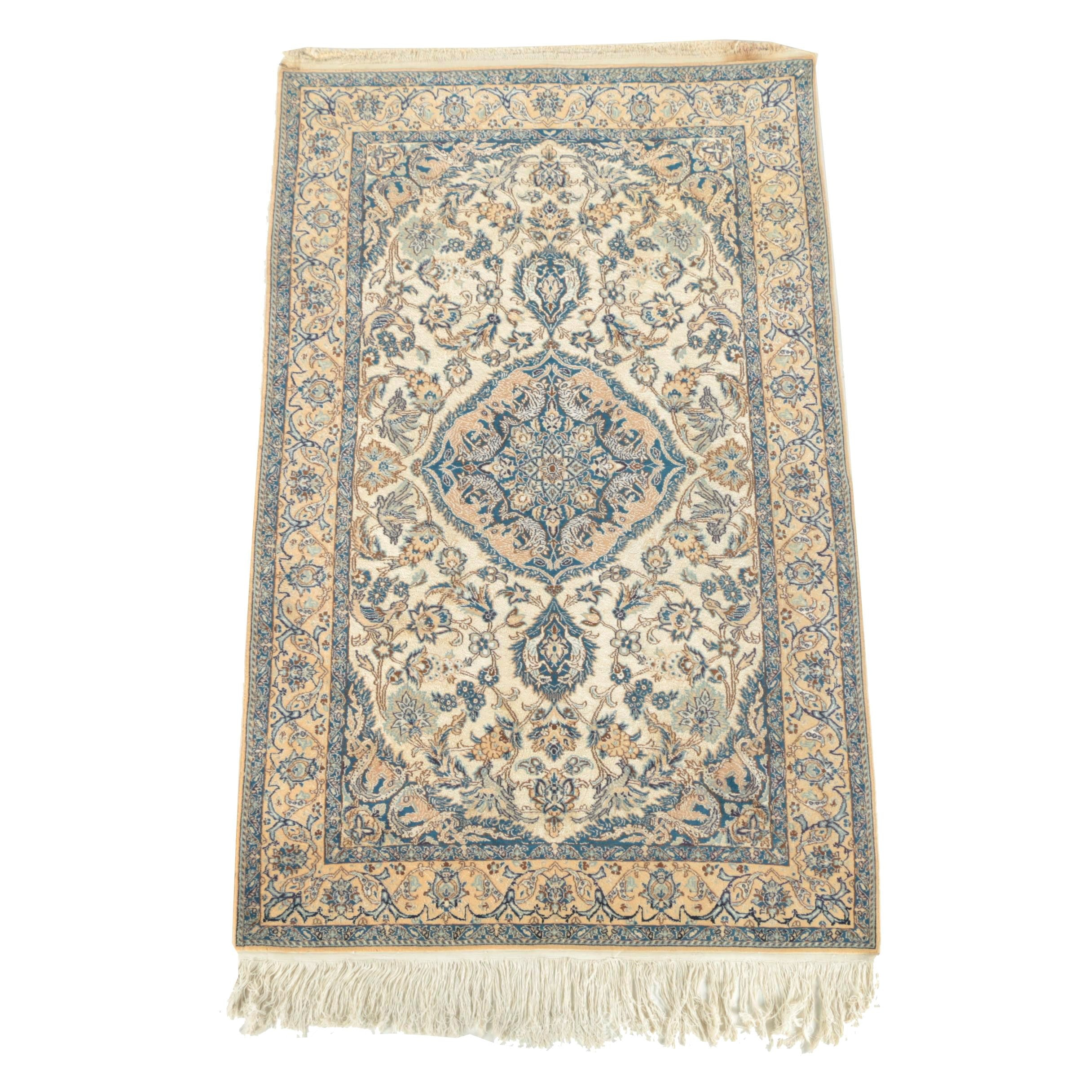 Hand-Knotted Persian Isfahan Pictorial Wool Rug