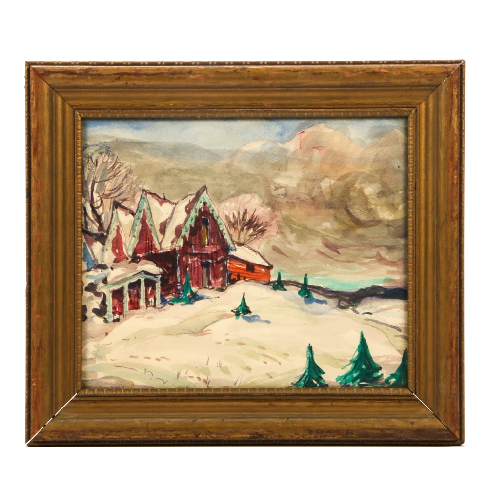 John Wenger Watercolor of a Winter Landscape