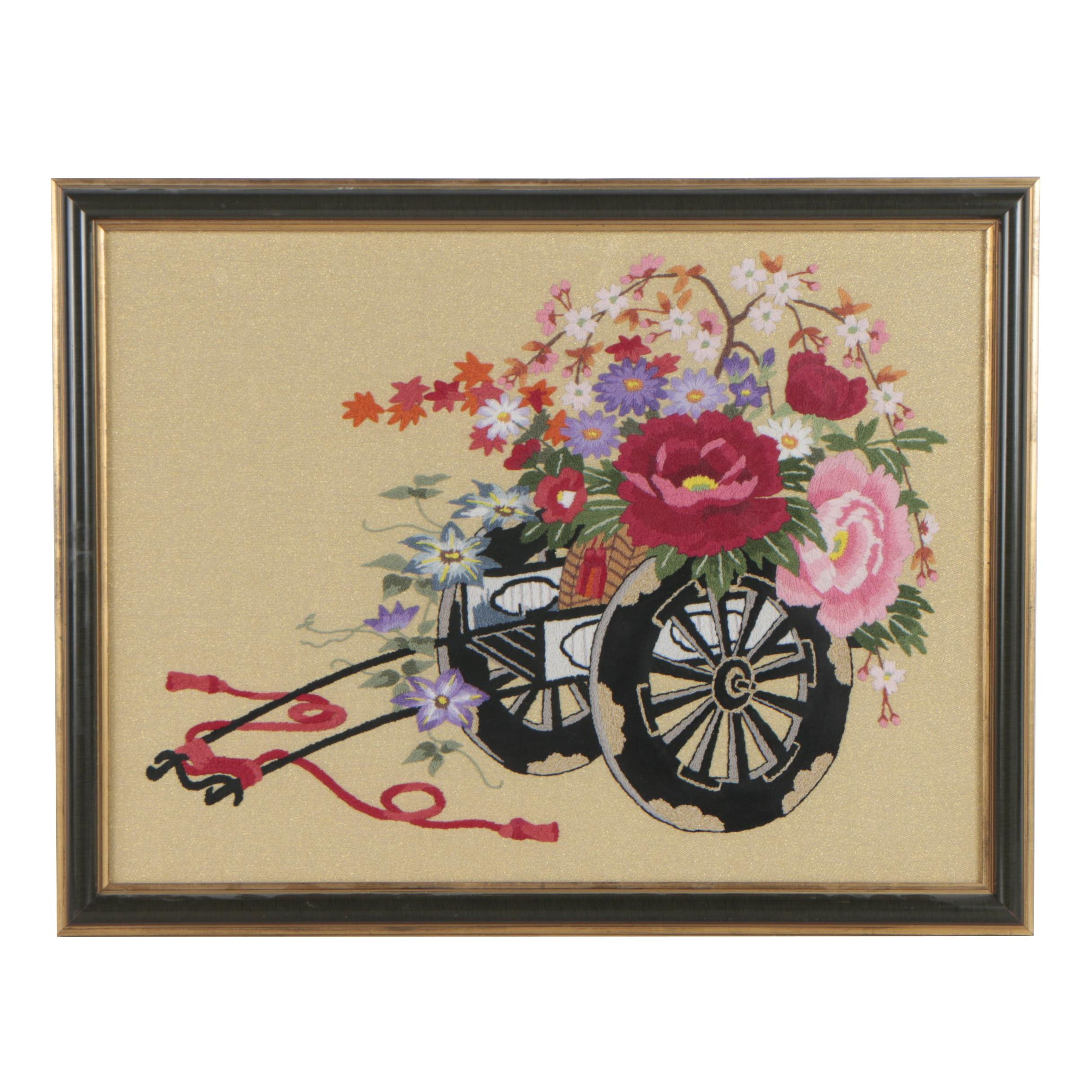 Japanese Embroidery of a Flower Cart