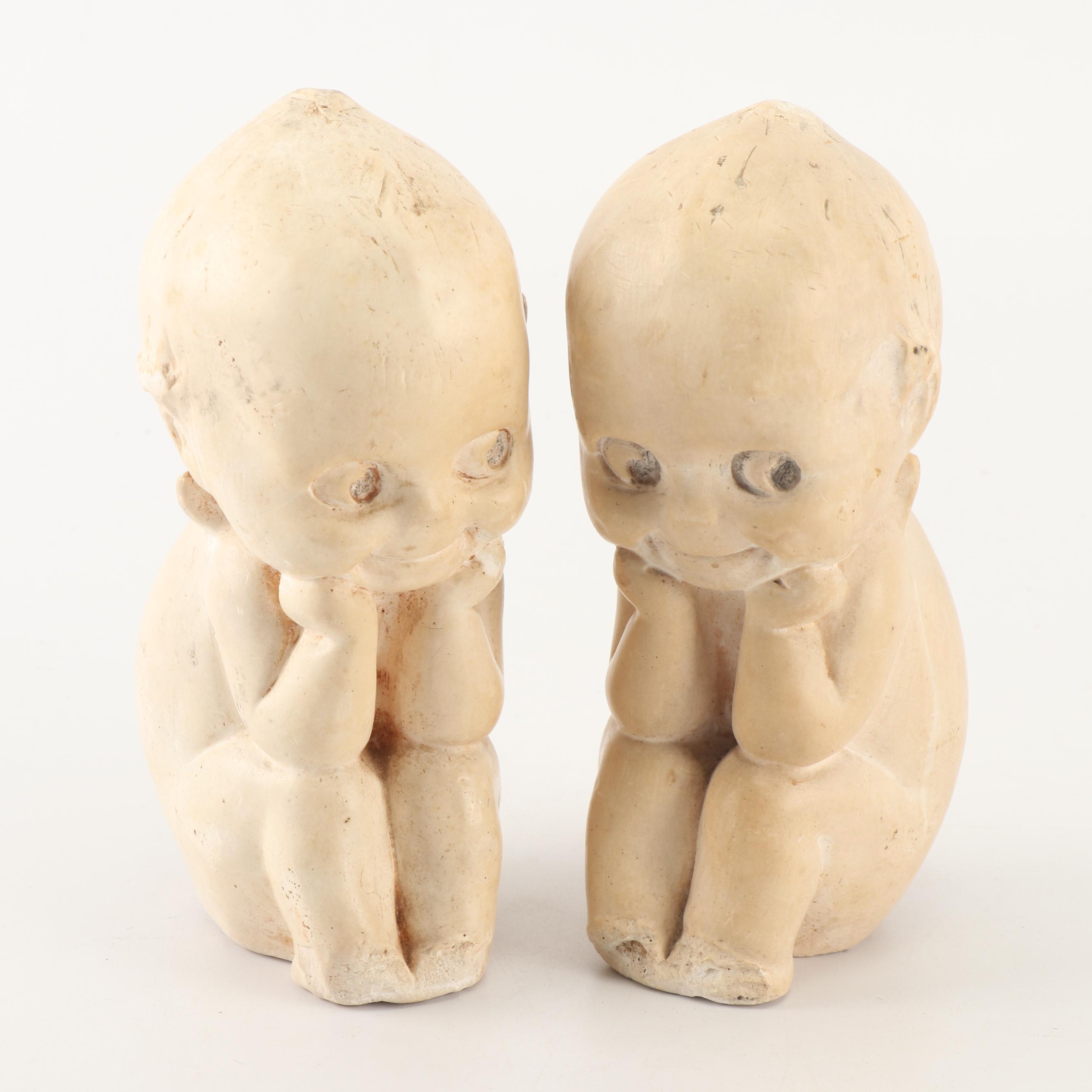"Antique Chalkware Kewpie Doll ""The Thinker"" Figurines"