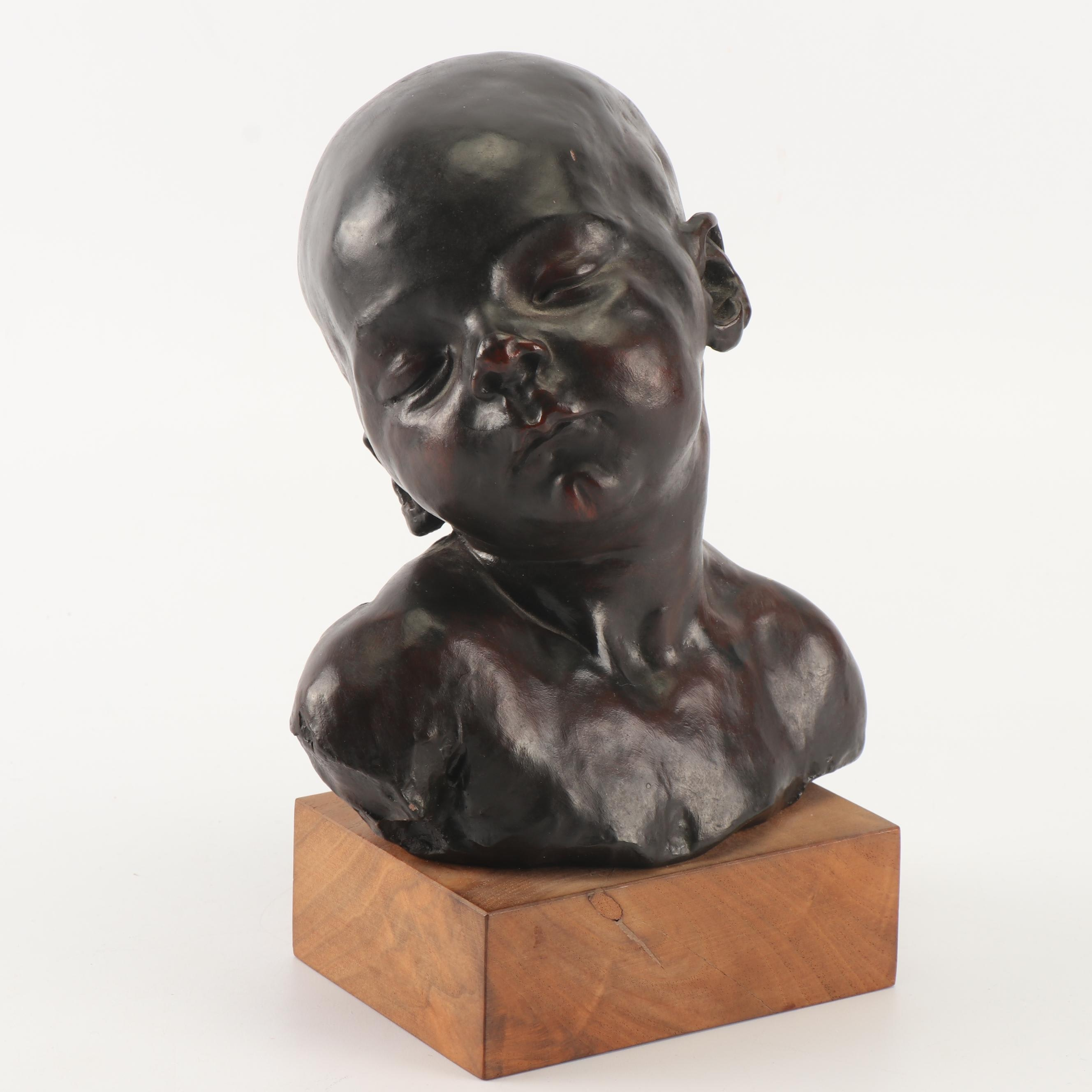 """Reproduction Plaster Sculpture after Jules Dalou """"Sleeping Baby"""""""