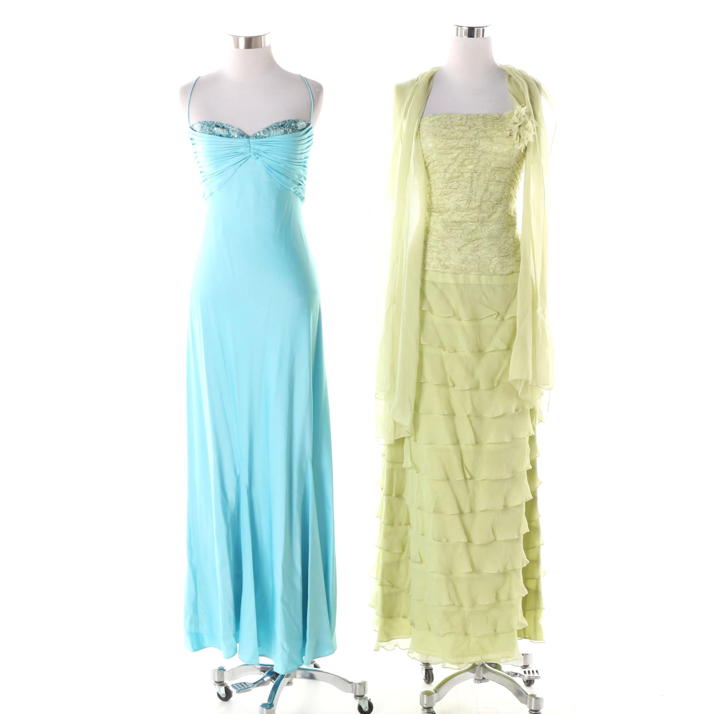Lillie Rubin Green Strapless Dress and Wrap and Blue Spaghetti Strap Maxi Dress