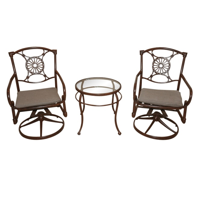 Swivel Rocker Patio Chairs with Glass Top Side Table