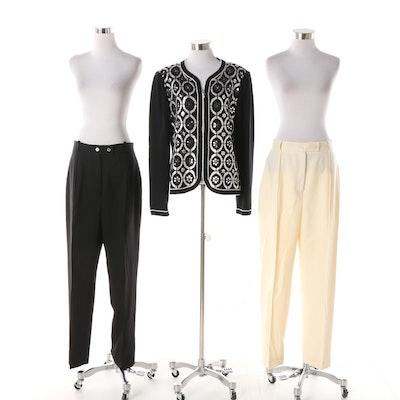 Women s St. John Evening Embellished Sweater Jacket and Vintage Burberrys  Pants 90c030171