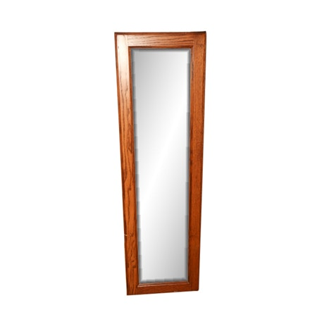 Contemporary Oak Mirrored Jewelry Cabinet