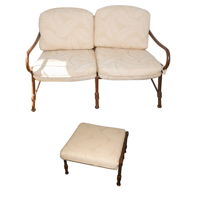 Outdoor Upholstered and Metal Frame Loveseat and Ottoman