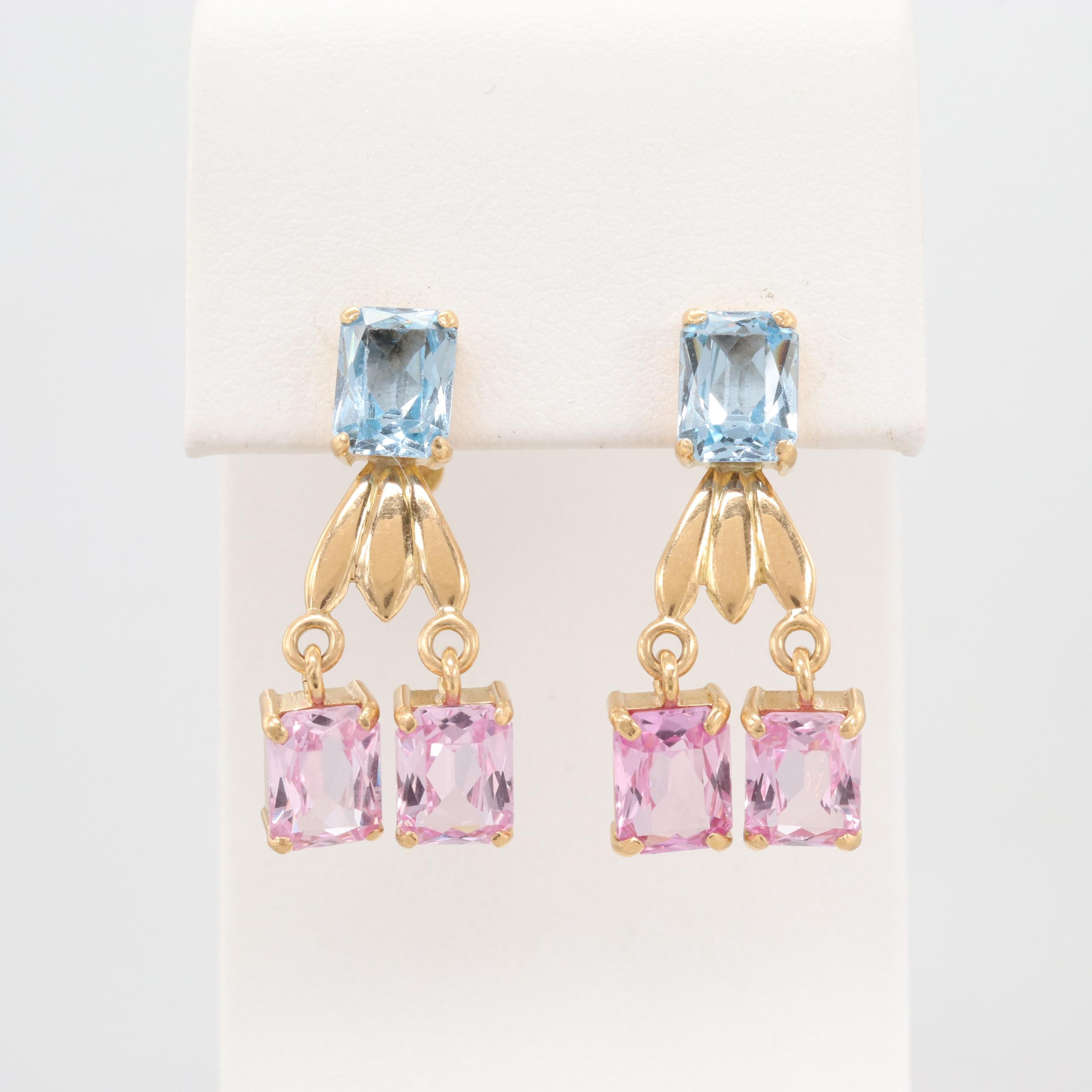 18K Yellow Gold Synthetic Spinel and Synthetic Pink Sapphire Dangle Earrings