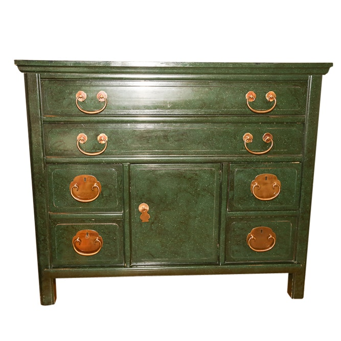 Asian Inspired Green Painted Chest by Henredon, Late 20th Century