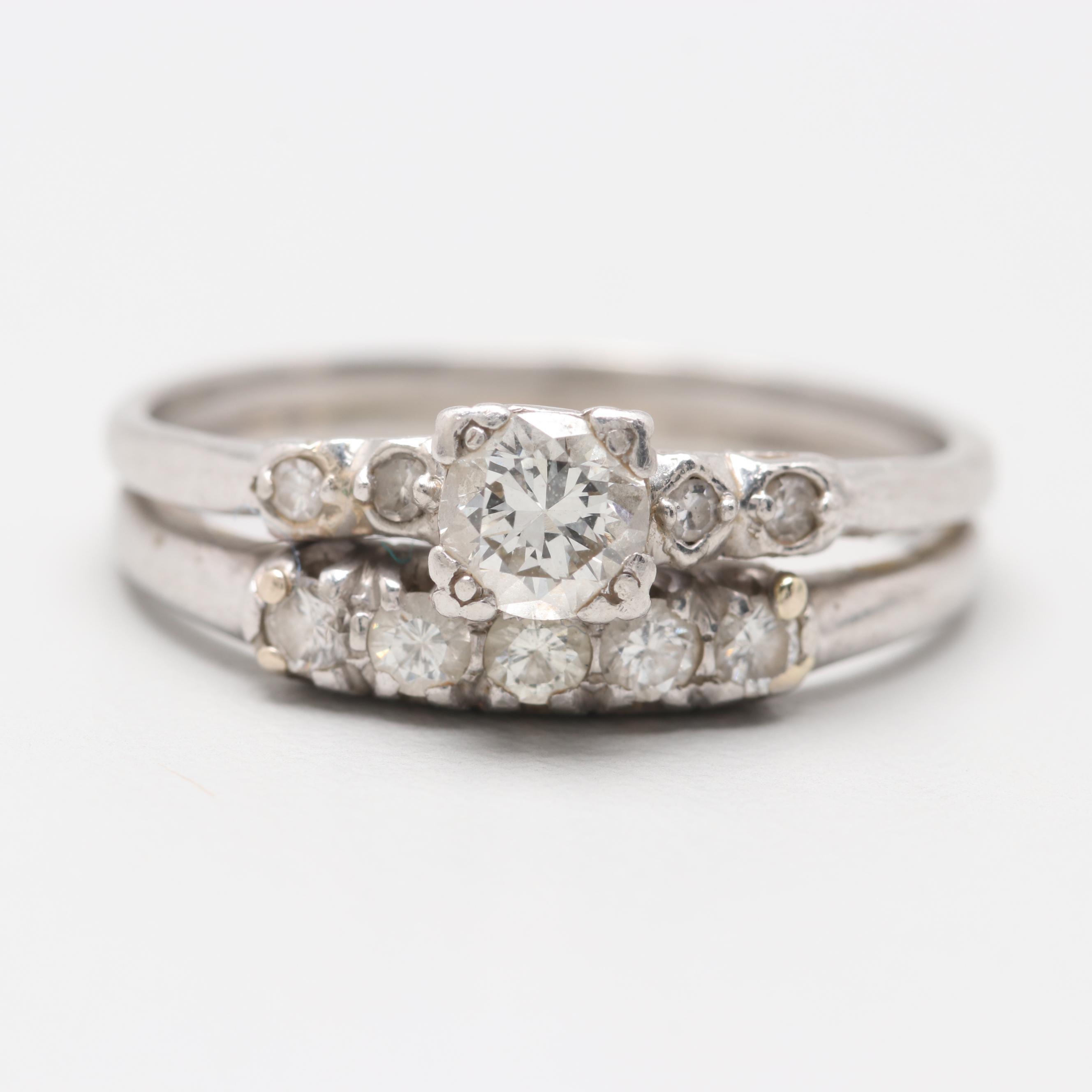 Platinum Soldered Diamond Ring Set