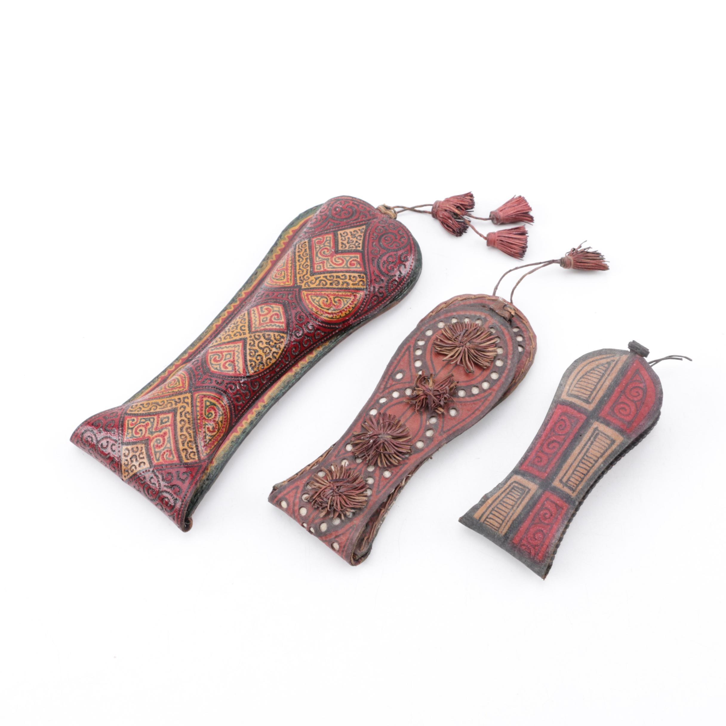 Sahelian Style Tooled Leather Regué Batte Tobacco Pouches