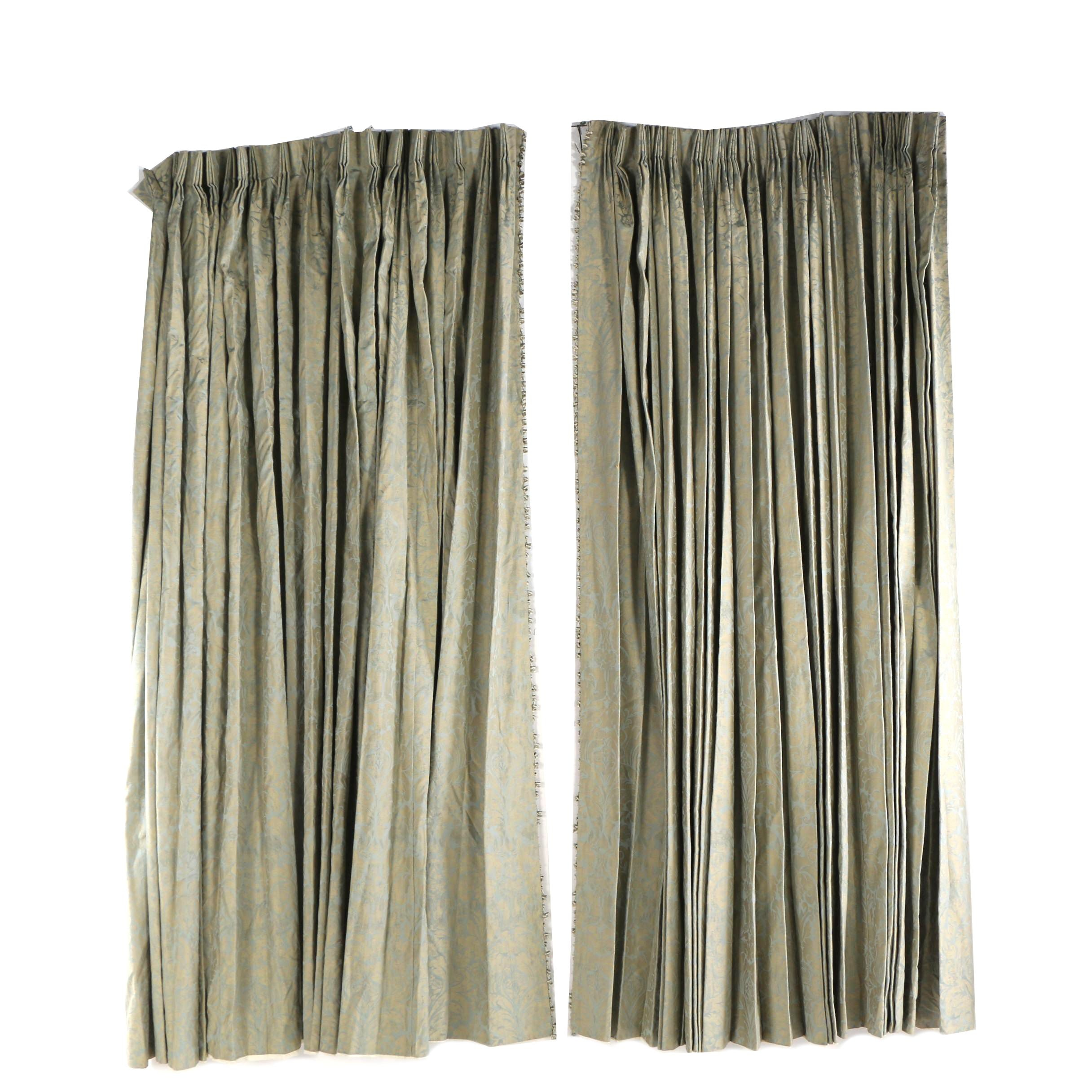 Custom Made Damask Brocade Pinch Pleat Drapes with Tassel Trim and Tie Backs