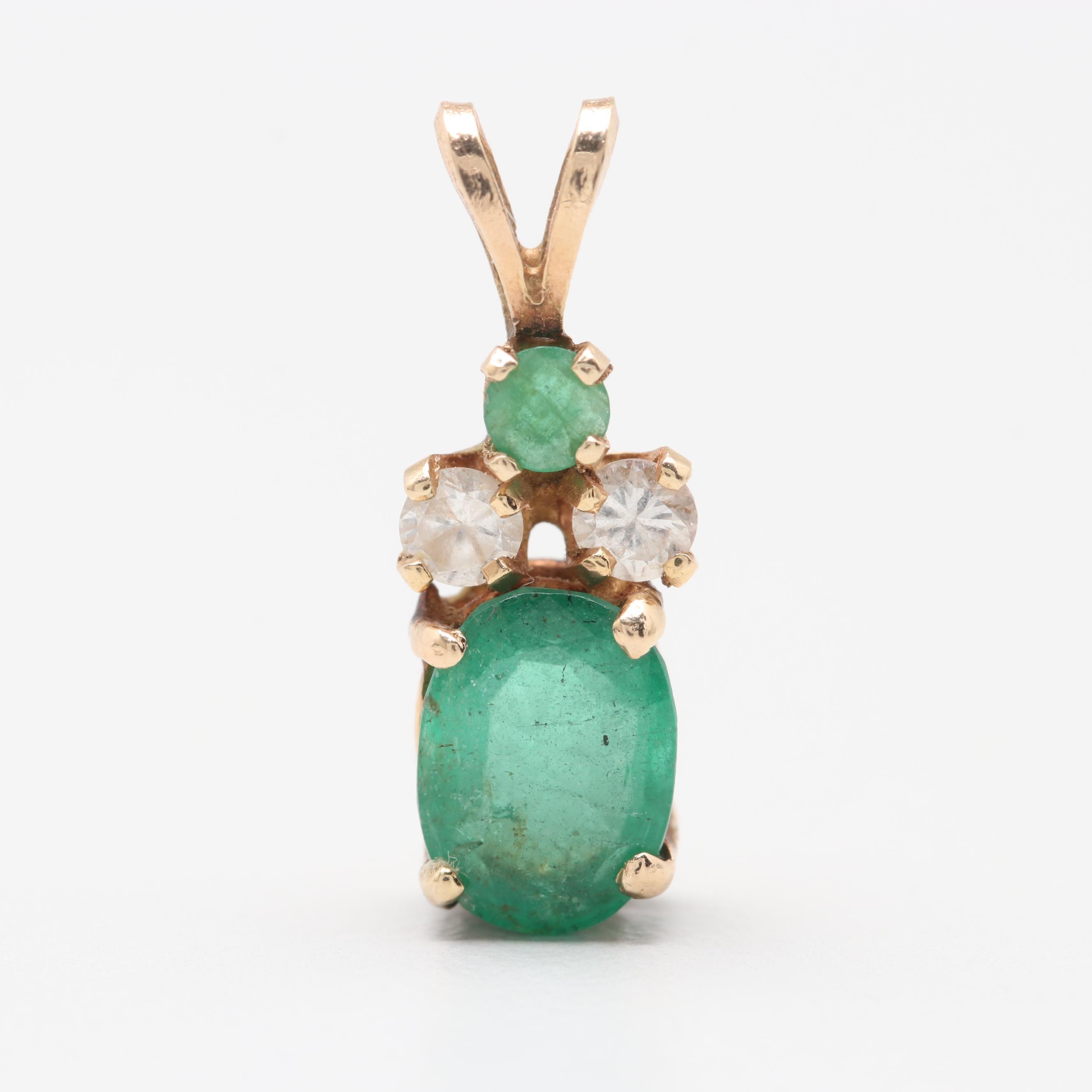 14K Yellow Gold Emerald and Diamond Pendant