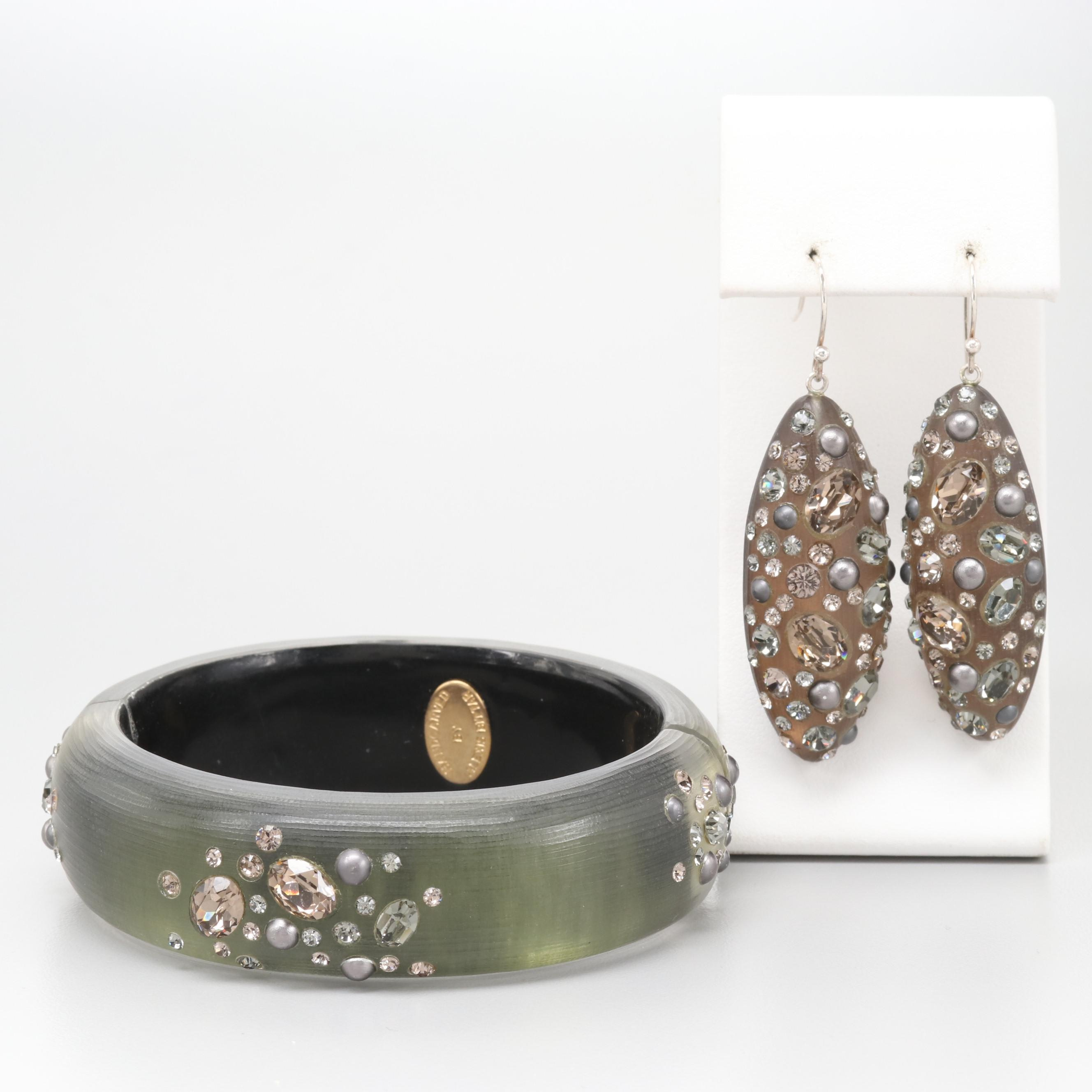 Alexis Bittar Sterling Silver Glass Bracelet and Earrings