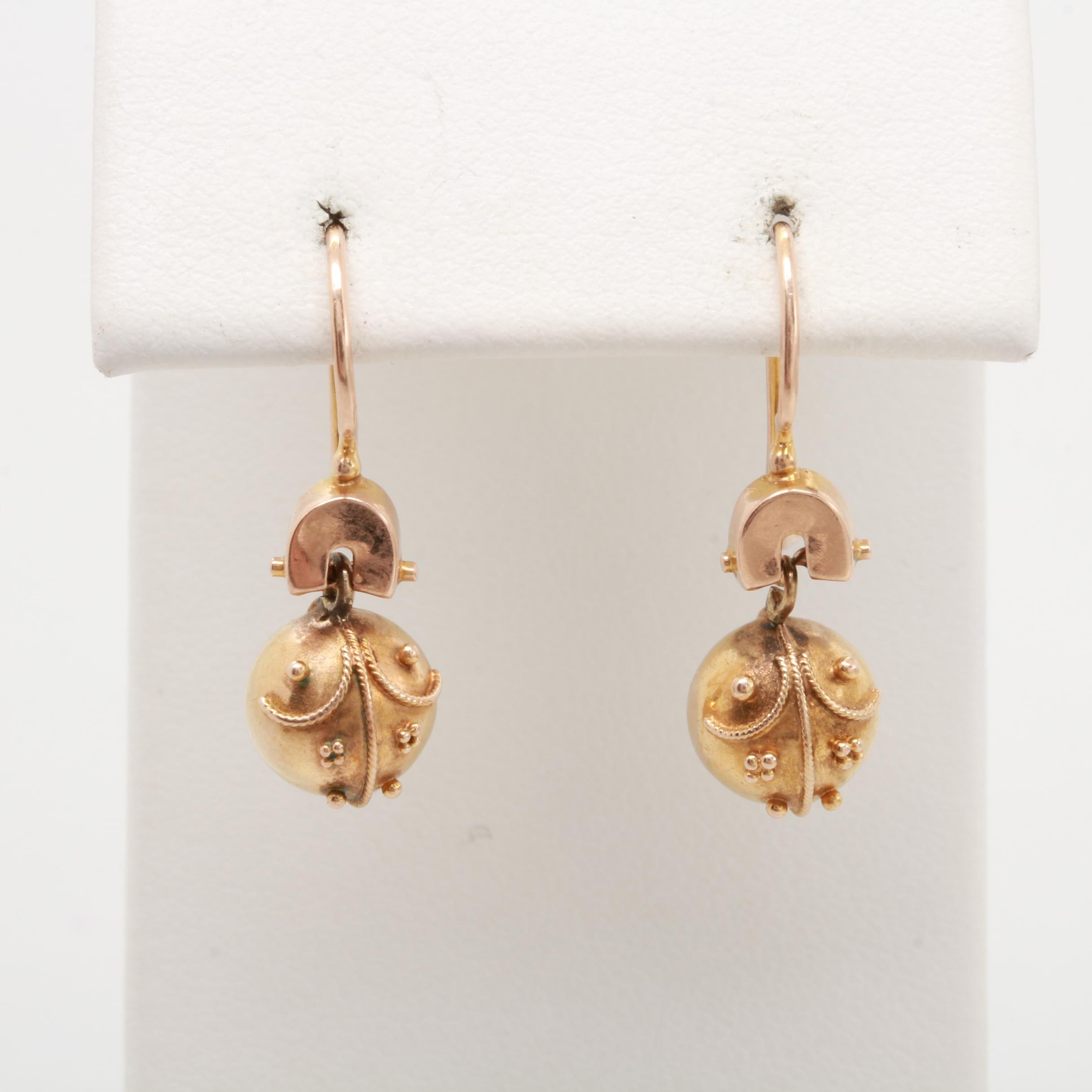 Etruscan Revival 10K Rose Gold and 14K Yellow Gold Sphere Drop Earrings