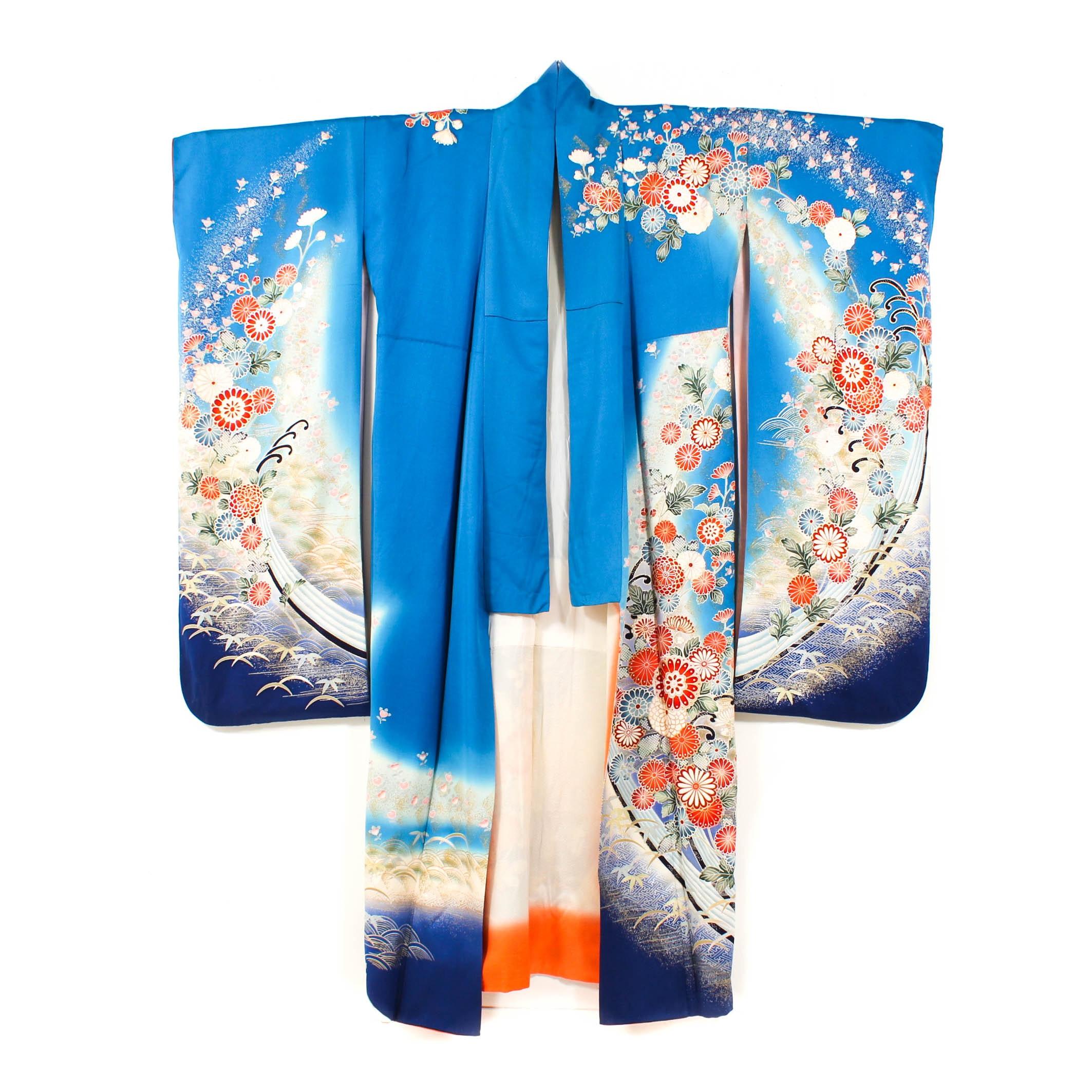 Vintage Silk Crepe Furisode Kimono